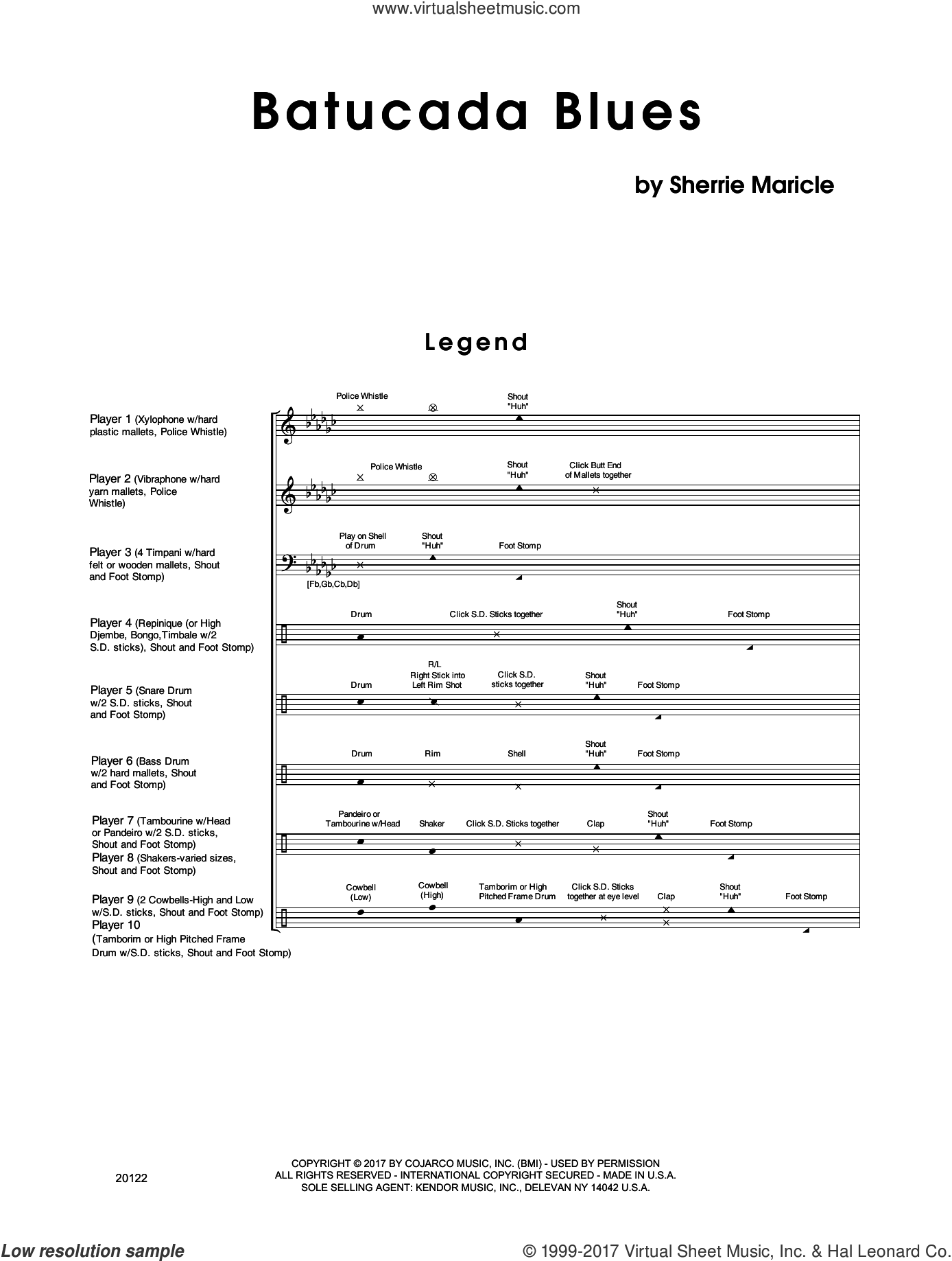 Batucada Blues (COMPLETE) sheet music for percussions by Sherrie Maricle, intermediate. Score Image Preview.