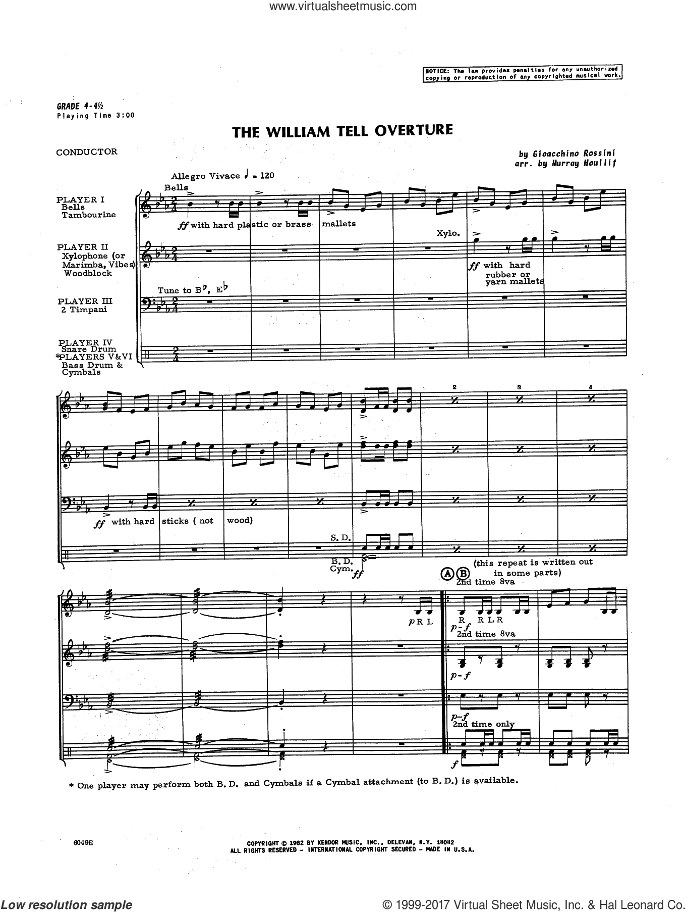 The William Tell Overture (COMPLETE) sheet music for percussions by Houllif and Gioacchino Rossini, classical score, intermediate percussions. Score Image Preview.