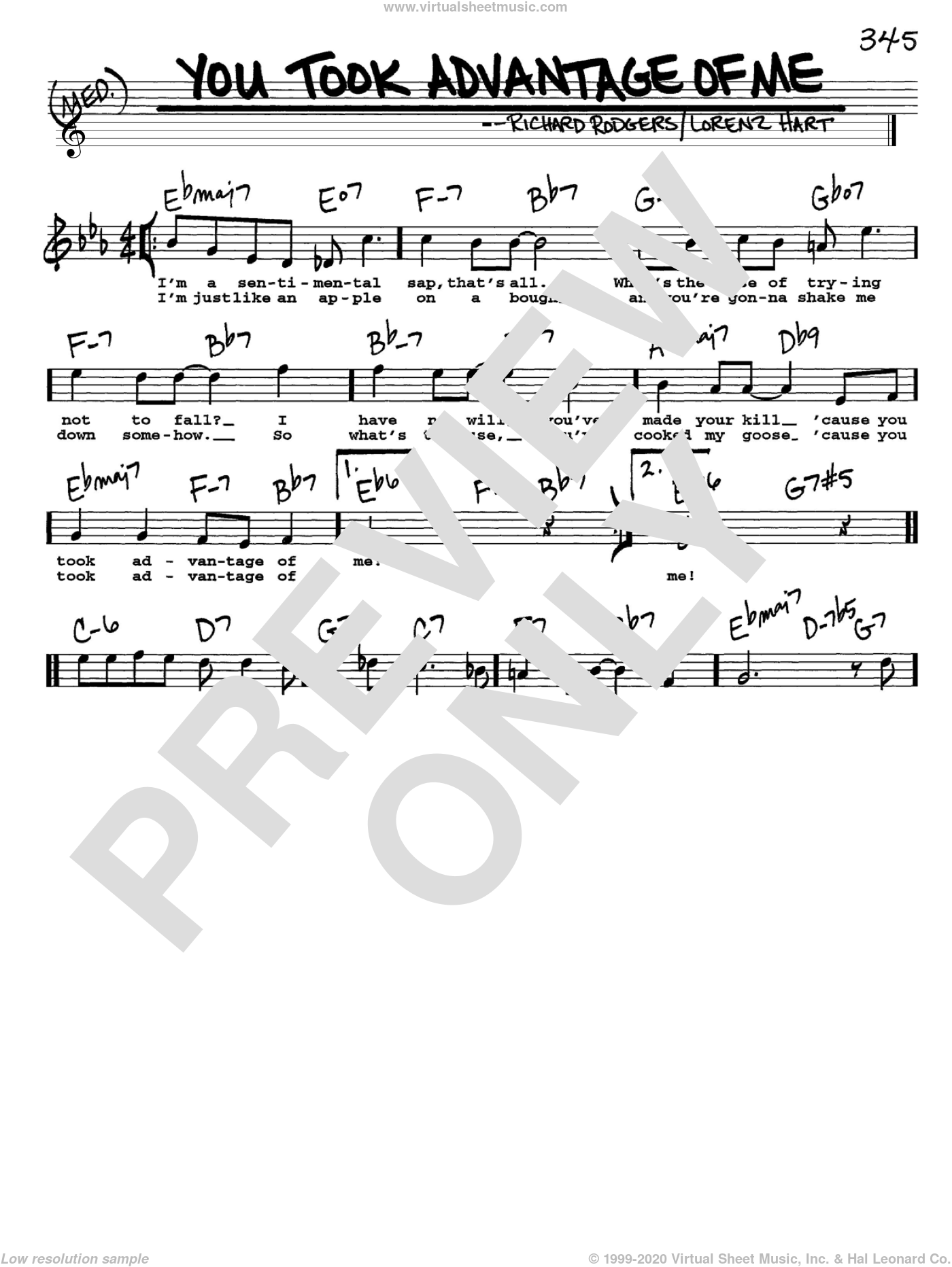 You Took Advantage Of Me sheet music for voice and other instruments (Vocal Volume 1) by Richard Rodgers, Rodgers & Hart and Lorenz Hart. Score Image Preview.