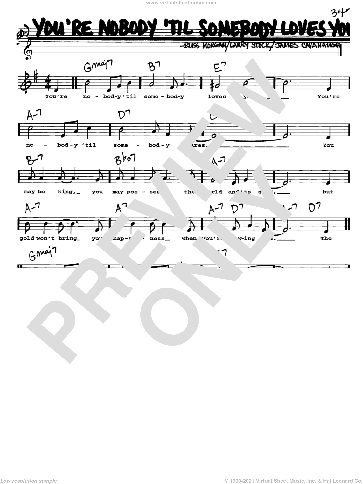 You're Nobody 'Til Somebody Loves You sheet music for voice and other instruments (Vocal Volume 1) by Russ Morgan, Dean Martin, Frank Sinatra, James Cavanaugh and Larry Stock. Score Image Preview.
