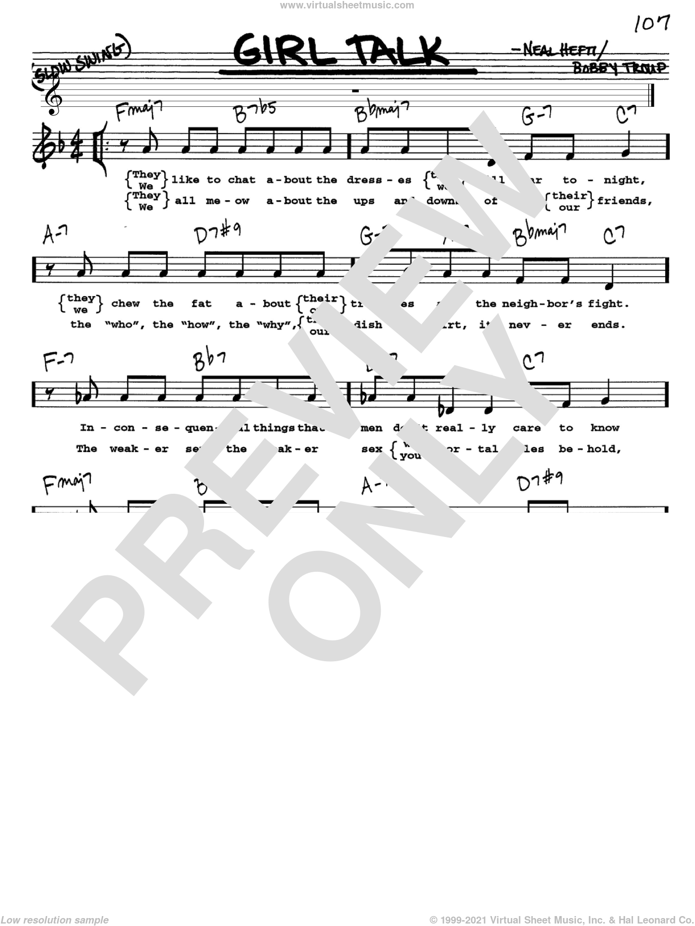 Girl Talk sheet music for voice and other instruments (Vocal Volume 1) by Bobby Troup and Neal Hefti. Score Image Preview.