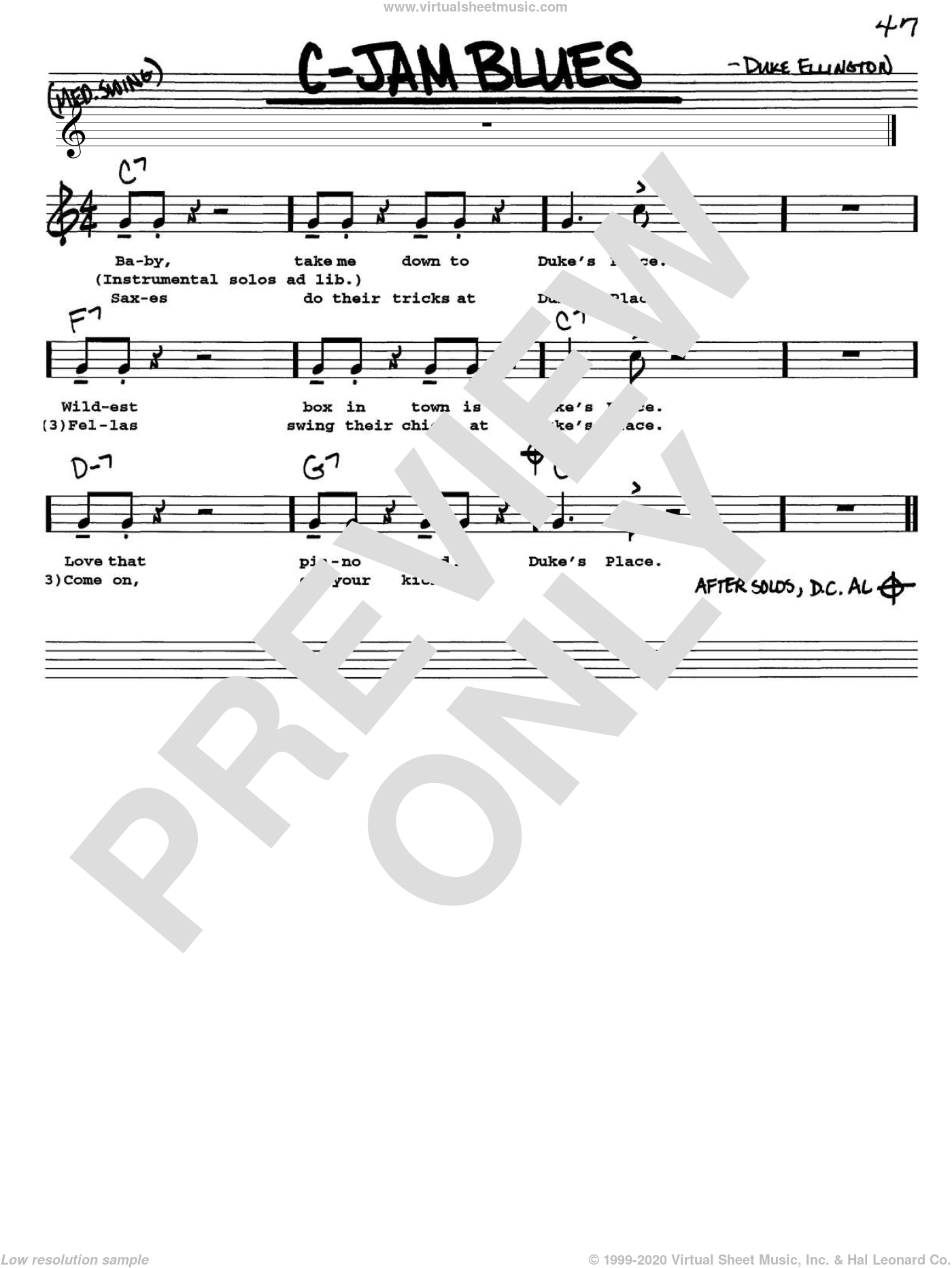 C-Jam Blues sheet music for voice and other instruments (Vocal Volume 1) by Duke Ellington