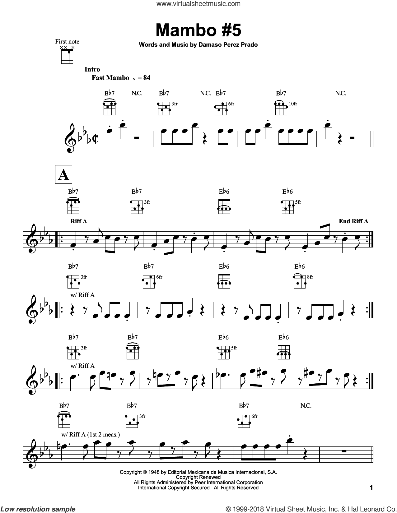 Mambo #5 sheet music for ukulele by Damaso Perez Prado and Perez Prado, intermediate skill level