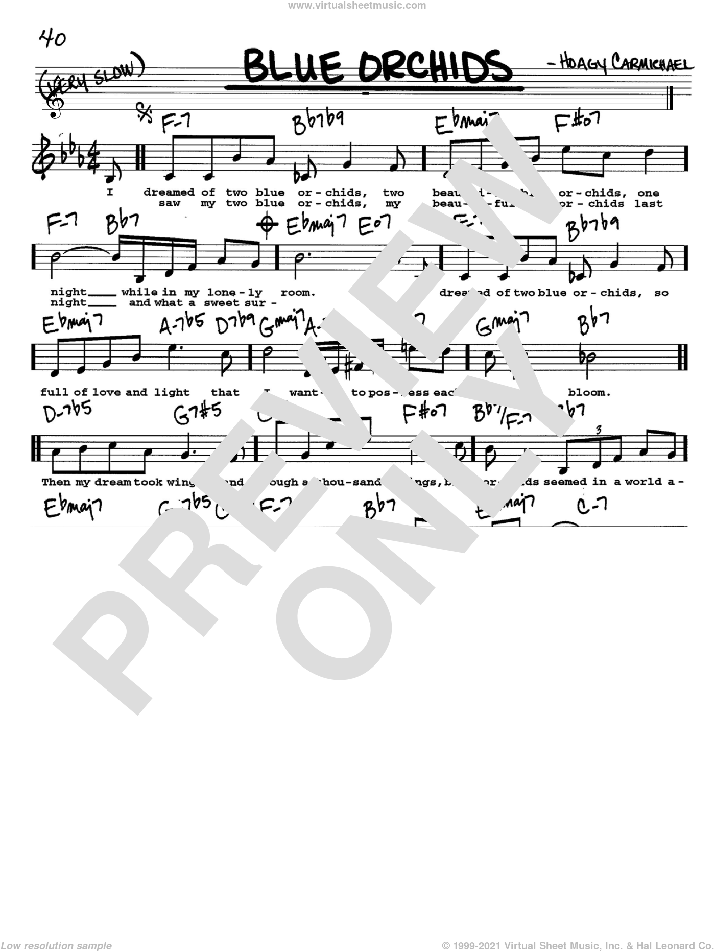 Blue Orchids sheet music for voice and other instruments (Vocal Volume 2) by Hoagy Carmichael. Score Image Preview.
