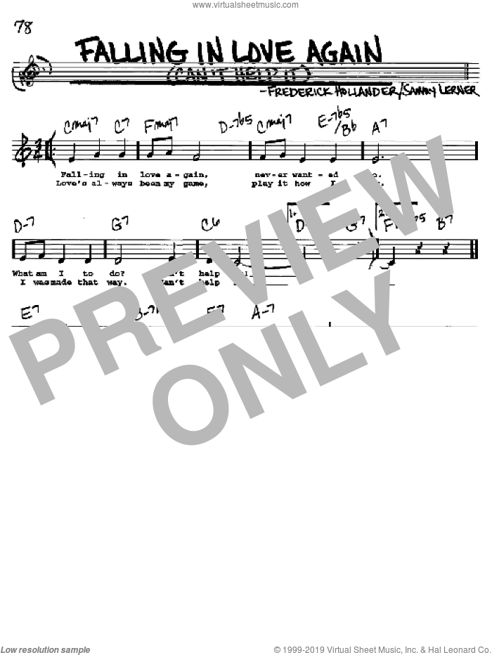 Falling In Love Again (Can't Help It) sheet music for voice and other instruments  by Marlene Dietrich and Sammy Lerner, intermediate. Score Image Preview.