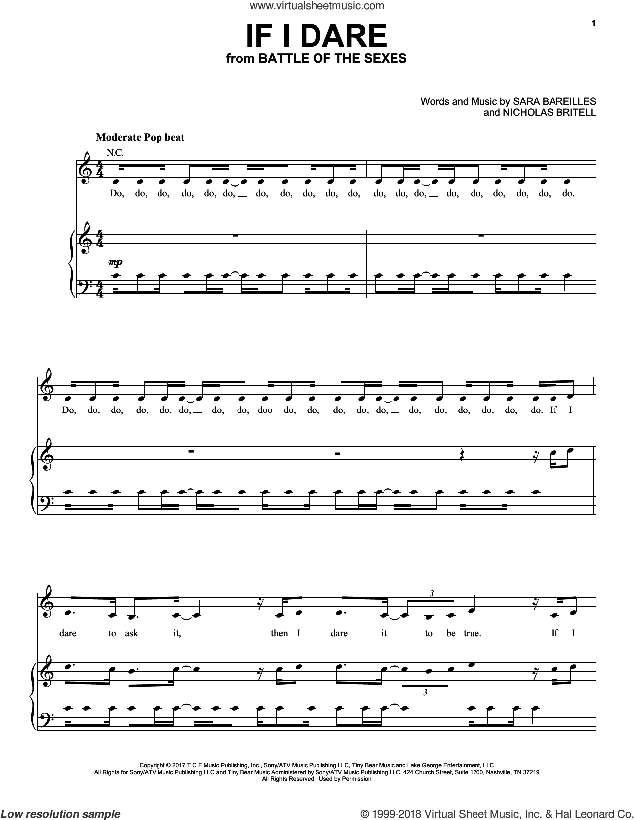 If I Dare sheet music for voice, piano or guitar by Sara Bareilles, Nicholas Britell and Sarah Bareilles, intermediate skill level