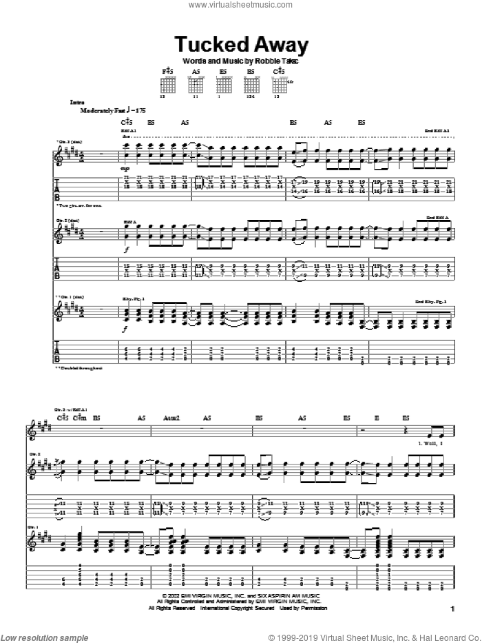 Tucked Away sheet music for guitar (tablature) by Robbie Takac. Score Image Preview.