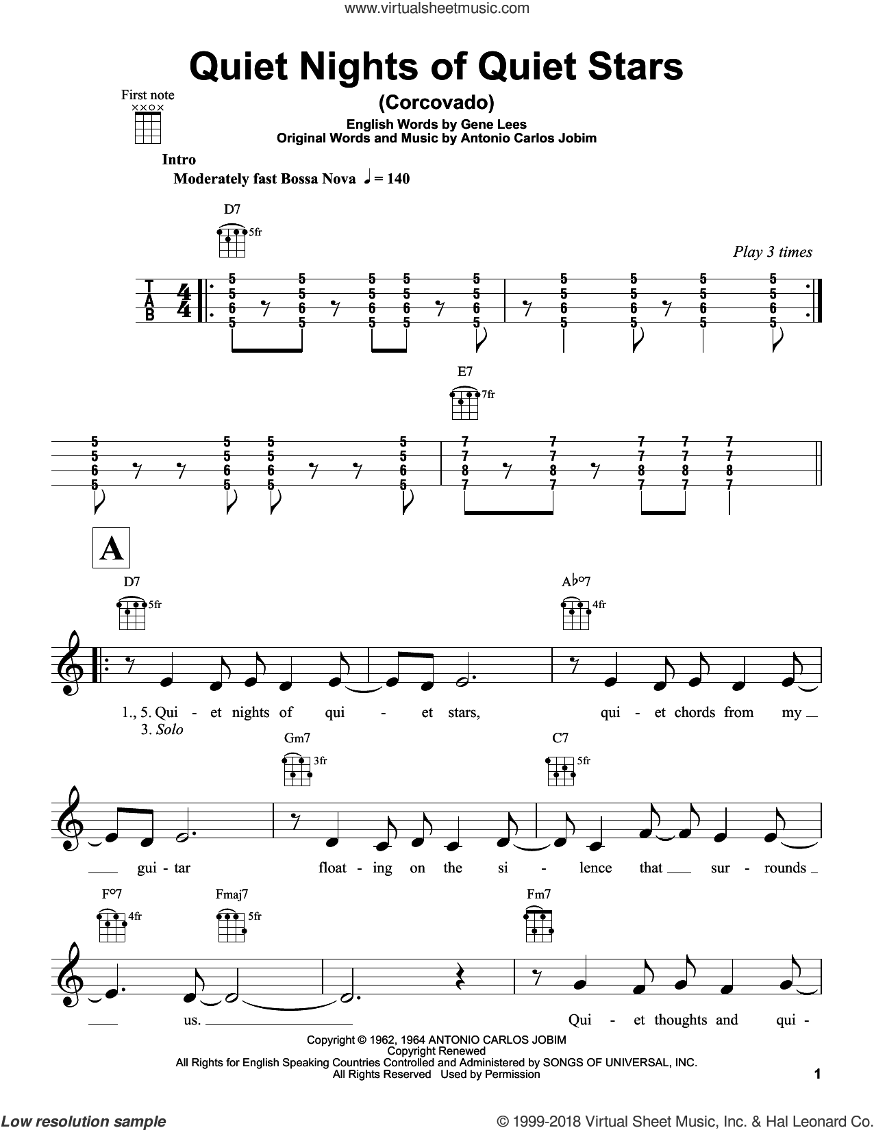 Quiet Nights Of Quiet Stars (Corcovado) sheet music for ukulele by Antonio Carlos Jobim, Andy Williams and Eugene John Lees, intermediate