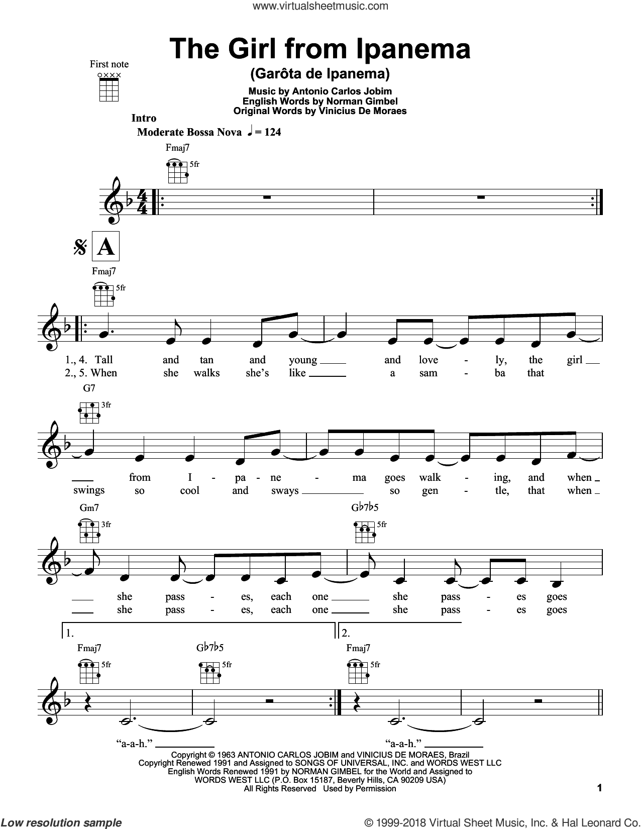 The Girl From Ipanema (Garota De Ipanema) sheet music for ukulele by Norman Gimbel, Antonio Carlos Jobim and Vinicius de Moraes. Score Image Preview.