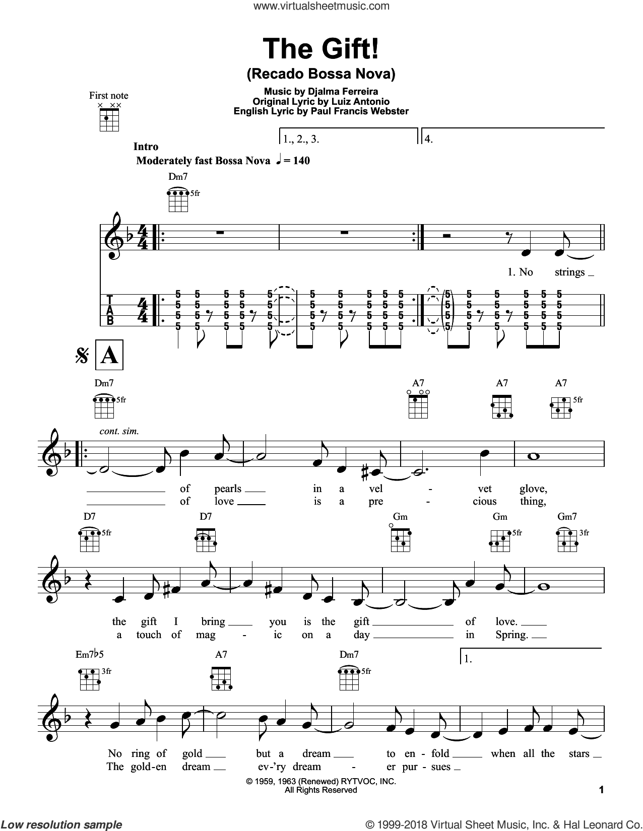 The Gift! (Recado Bossa Nova) sheet music for ukulele by Paul Francis Webster, Djalma Ferreira and Luiz Antonio, intermediate skill level