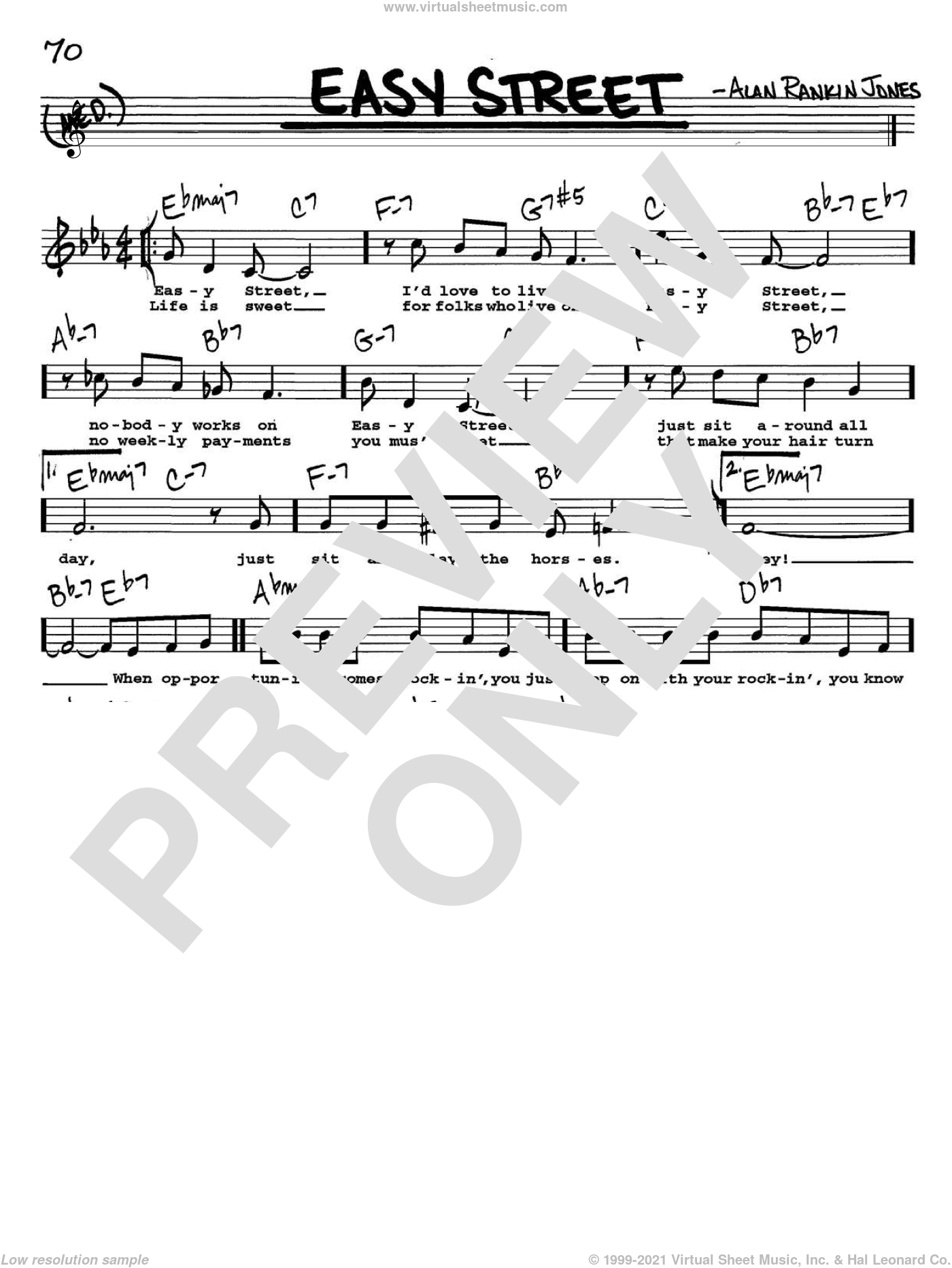 Easy Street sheet music for voice and other instruments  by June Christy and Alan Rankin Jones, intermediate. Score Image Preview.