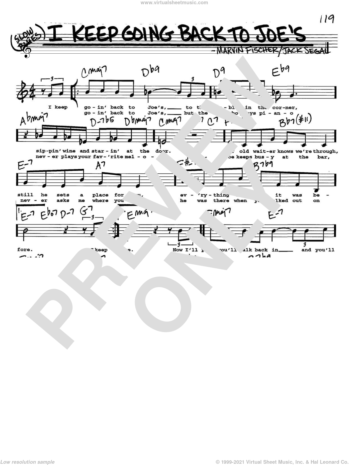 I Keep Going Back To Joe's sheet music for voice and other instruments (Vocal Volume 2) by Jack Segal and Marvin Fisher. Score Image Preview.