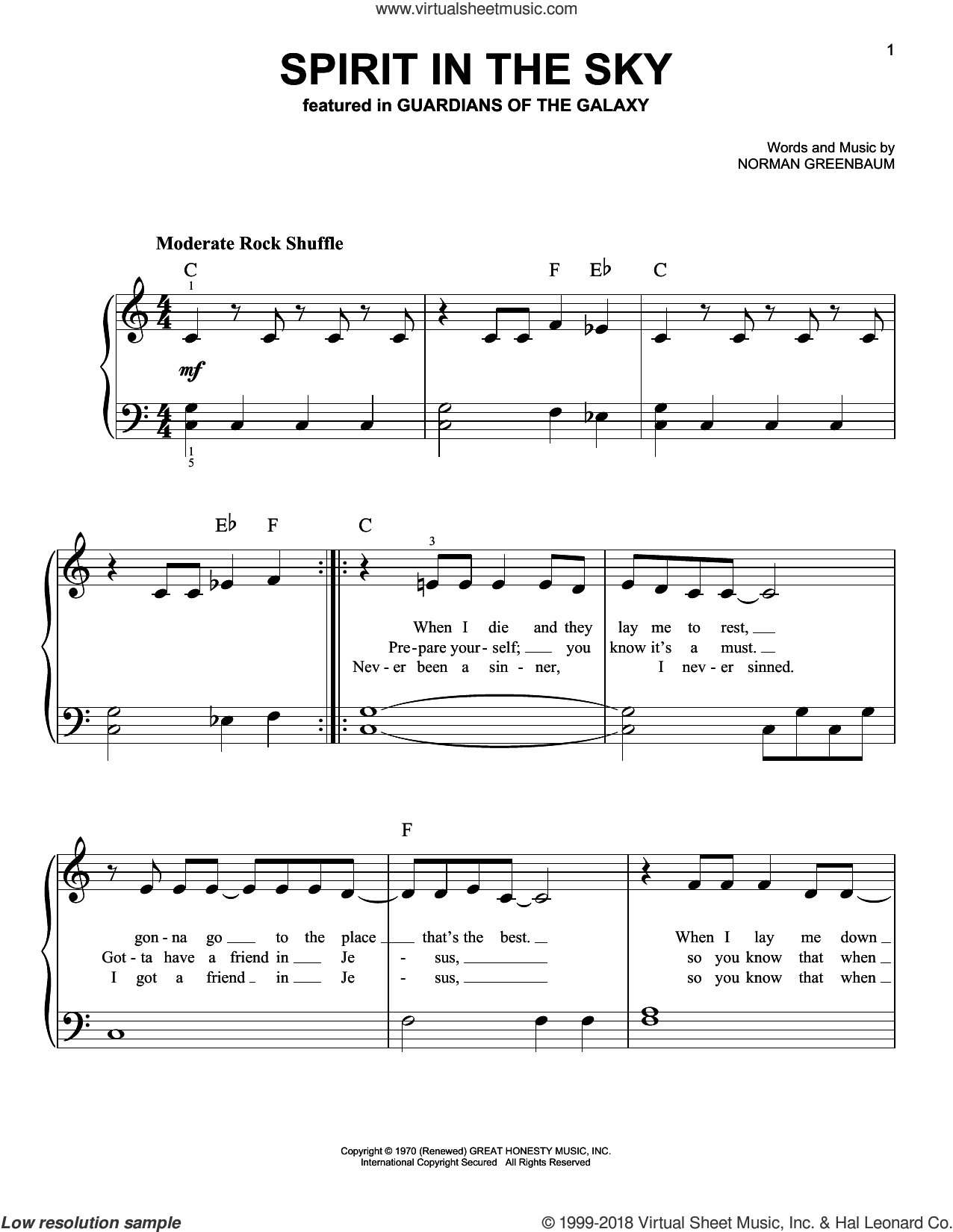 Spirit In The Sky sheet music for piano solo by Norman Greenbaum and dc Talk, easy skill level