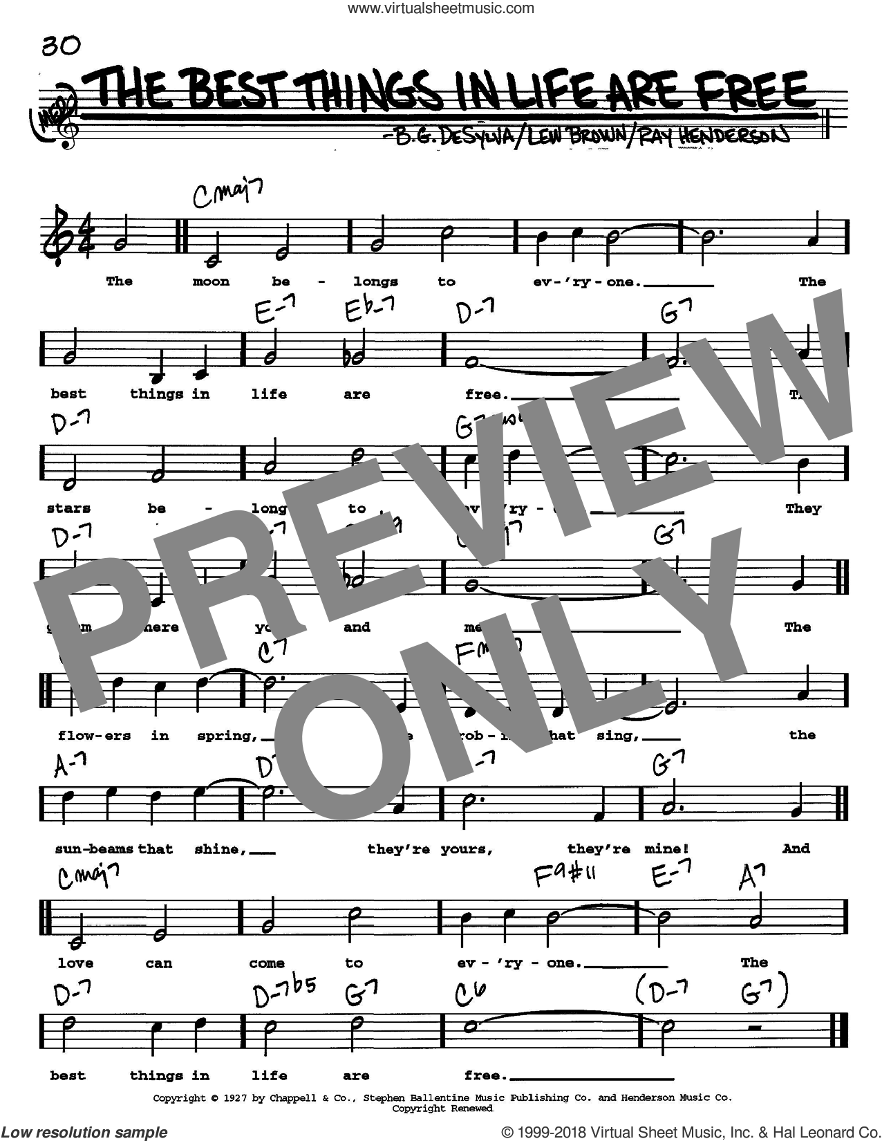 The Best Things In Life Are Free sheet music for voice and other instruments (Vocal Volume 2) by Ray Henderson, Buddy DeSylva and Lew Brown. Score Image Preview.