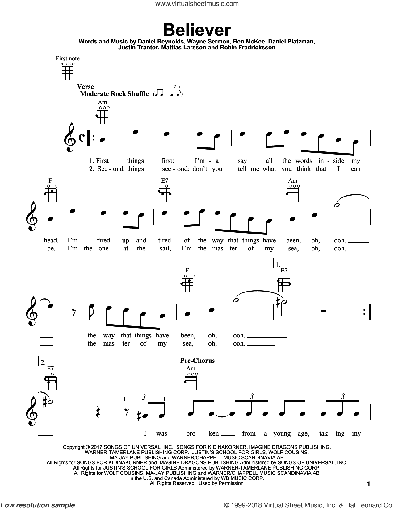 Believer sheet music for ukulele by Imagine Dragons, Ben McKee, Dan Reynolds, Daniel Platzman, Justin Tranter, Mattias Larsson, Robin Fredriksson and Wayne Sermon, intermediate