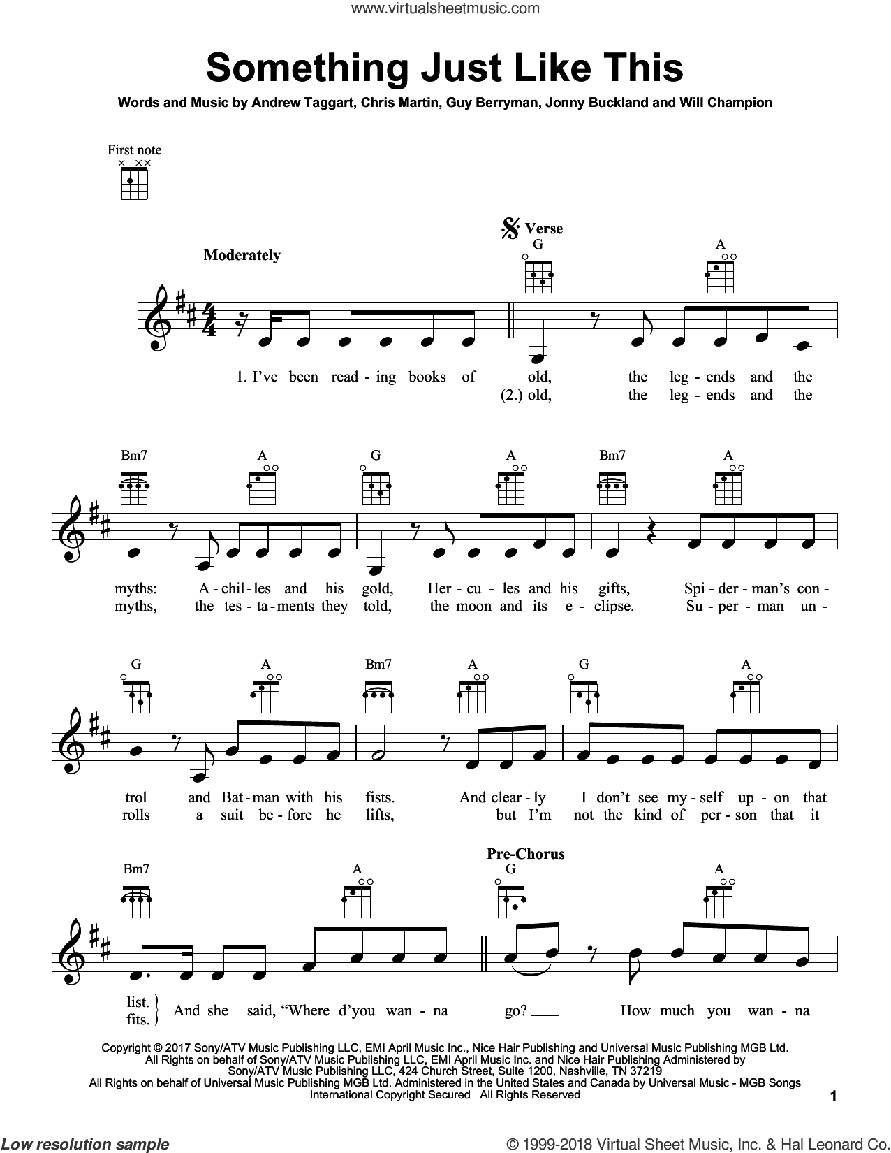 Something Just Like This sheet music for ukulele by The Chainsmokers & Coldplay, Andrew Taggart, Chris Martin, Guy Berryman, Jonny Buckland and Will Champion, intermediate skill level