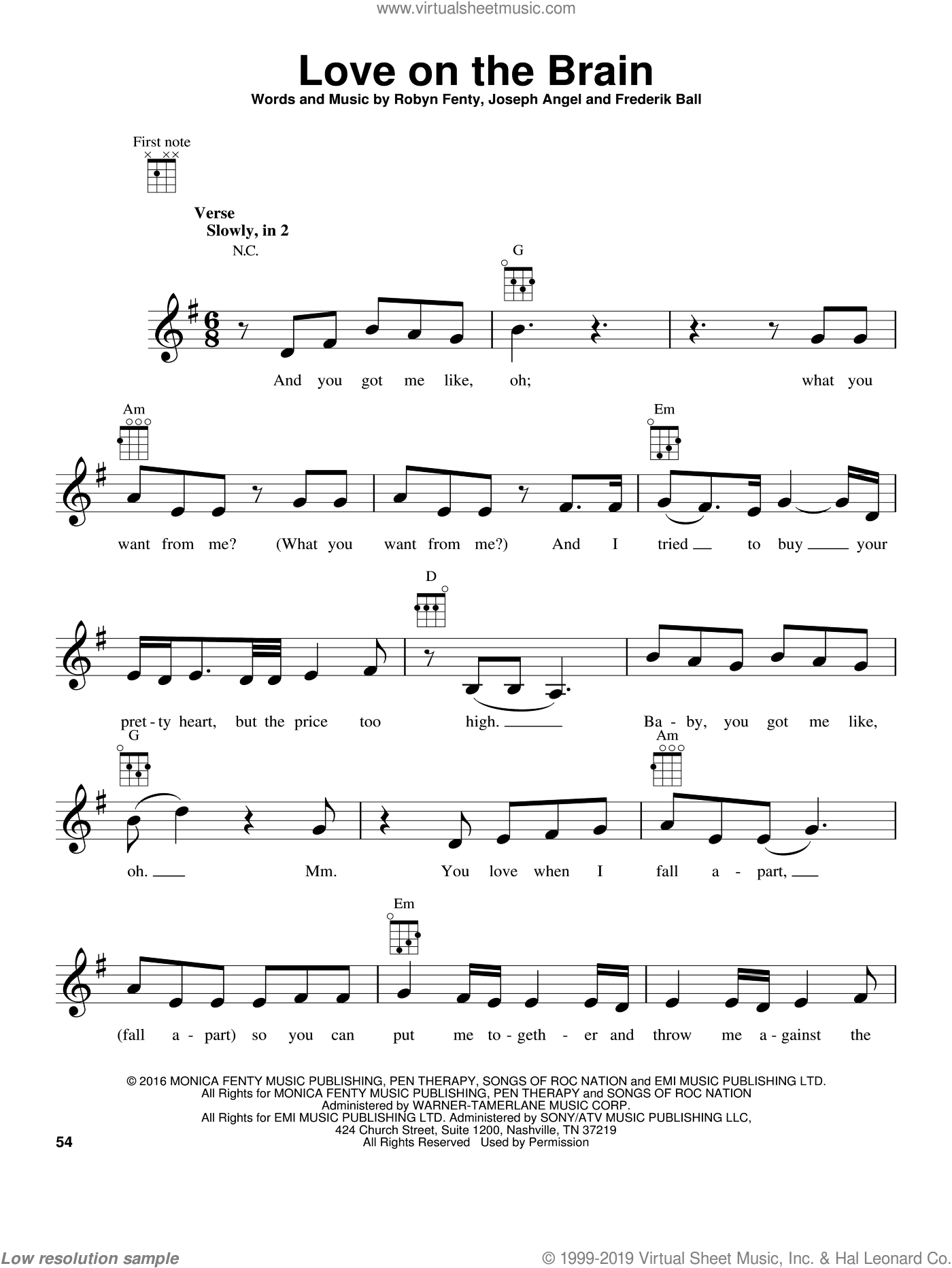 Love On The Brain sheet music for ukulele by Rihanna, Frederik Ball, Joseph Angel and Robyn Fenty, intermediate skill level
