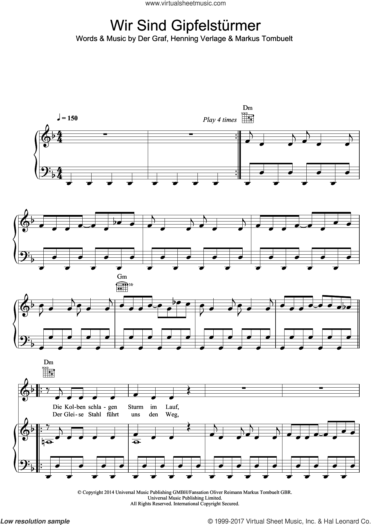 Wir Sind Die Gipfelsturmer sheet music for voice, piano or guitar by Unheilig, Der Graf, Henning Verlage and Markus Tombuelt, intermediate skill level