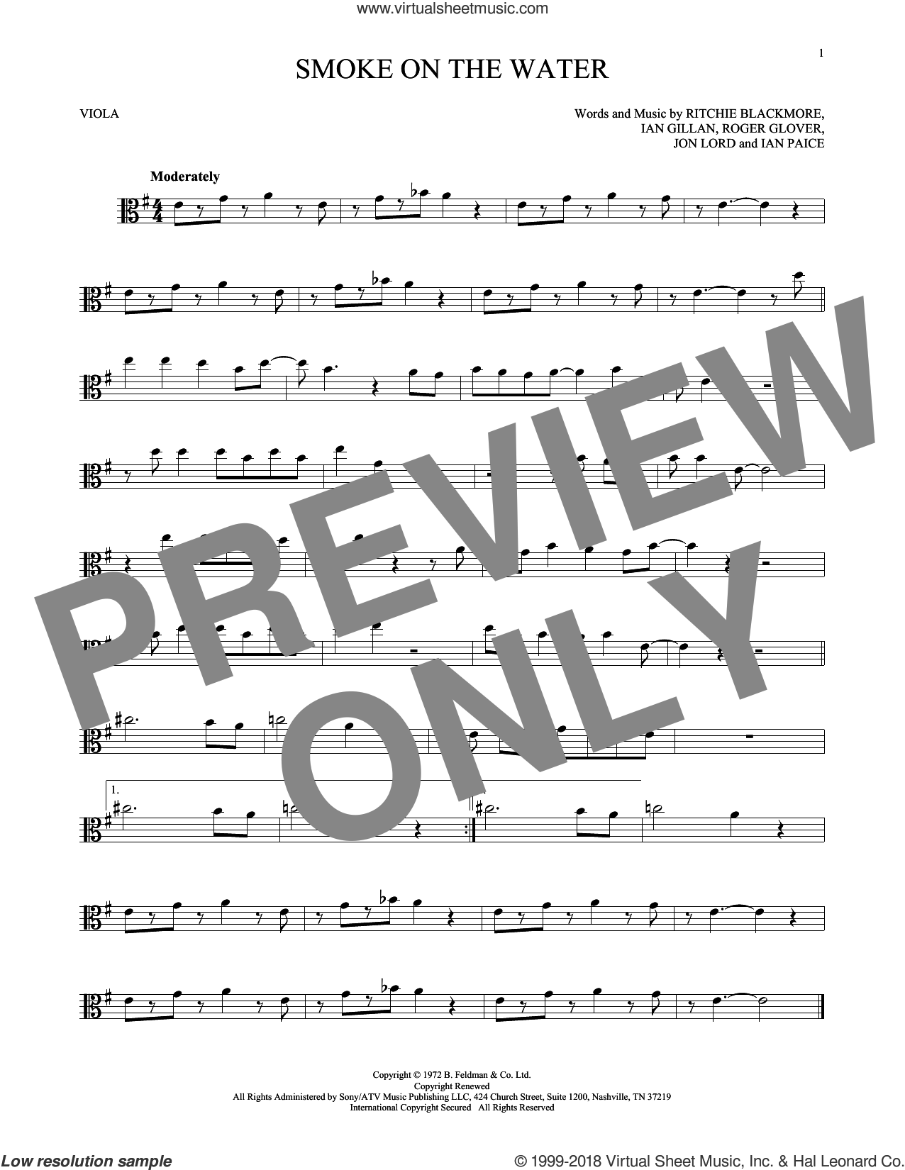 Smoke On The Water sheet music for viola solo by Deep Purple, Ian Gillan, Ian Paice, Jon Lord, Ritchie Blackmore and Roger Glover, intermediate skill level