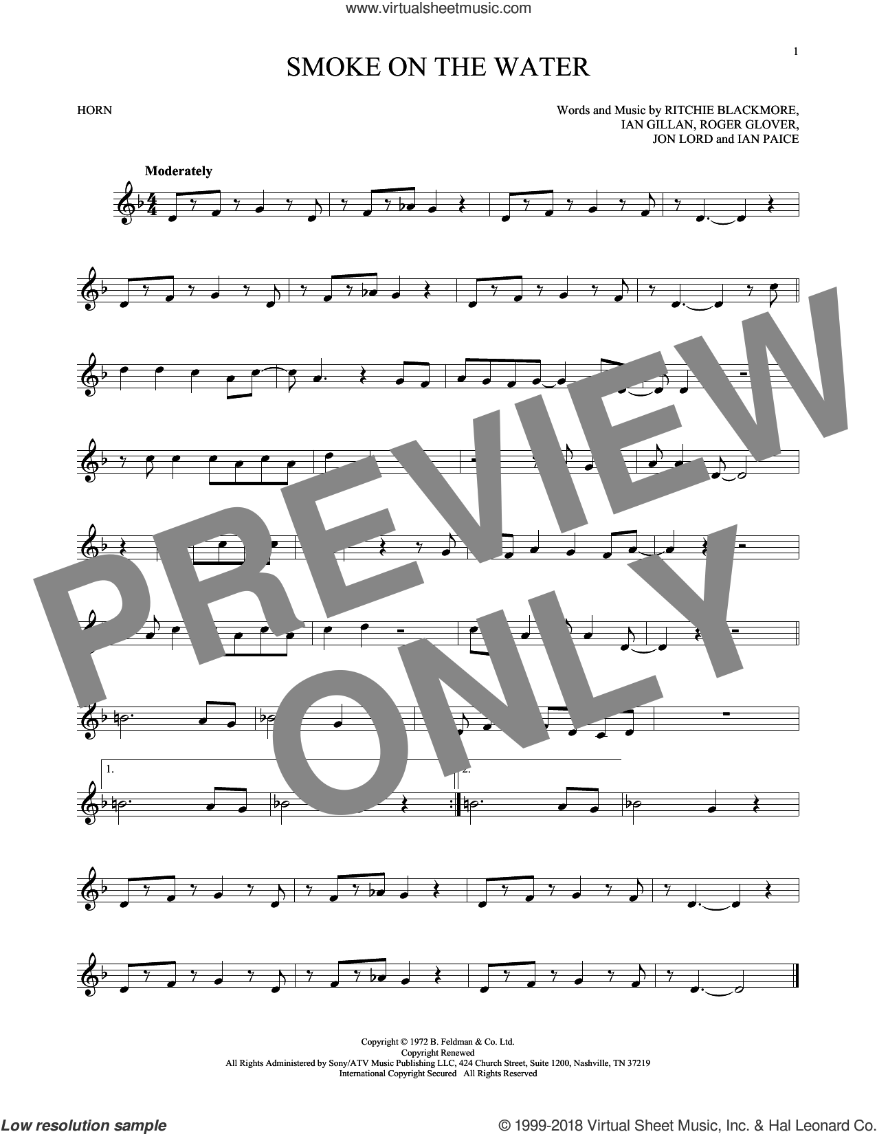 Smoke On The Water sheet music for horn solo by Deep Purple. Score Image Preview.