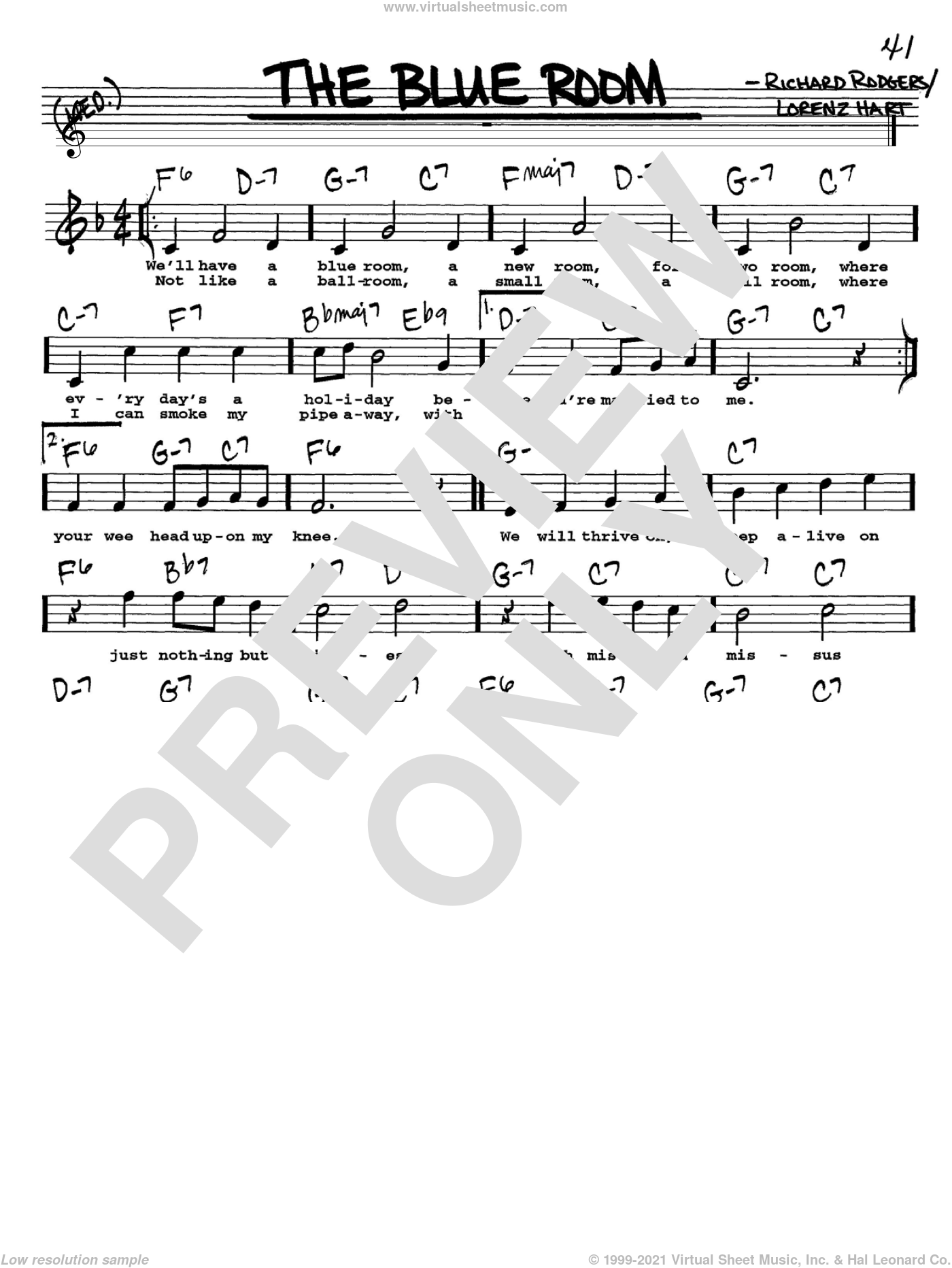 The Blue Room sheet music for voice and other instruments  by Rodgers & Hart, Lorenz Hart and Richard Rodgers, intermediate. Score Image Preview.