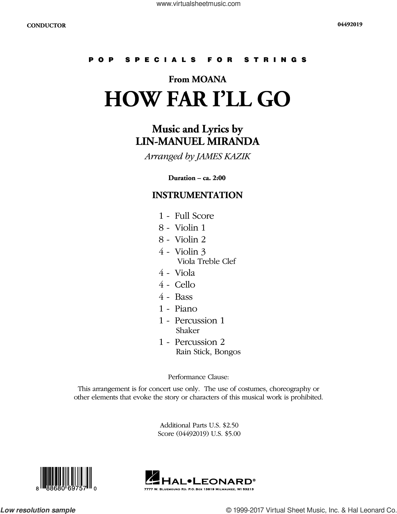 Miranda How Far Ill Go From Moana Sheet Music Complete Collection For Orchestra
