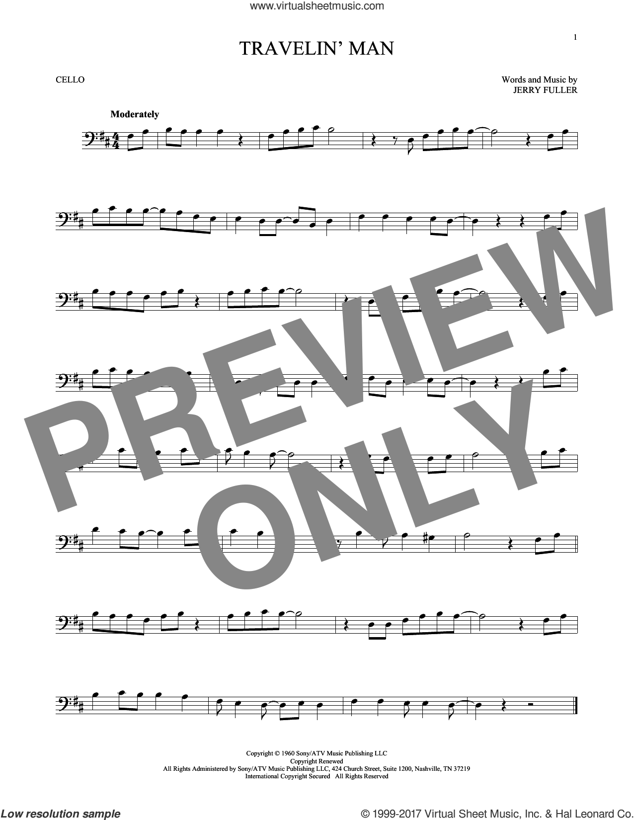 Travelin' Man sheet music for cello solo by Ricky Nelson and Jerry Fuller, intermediate skill level