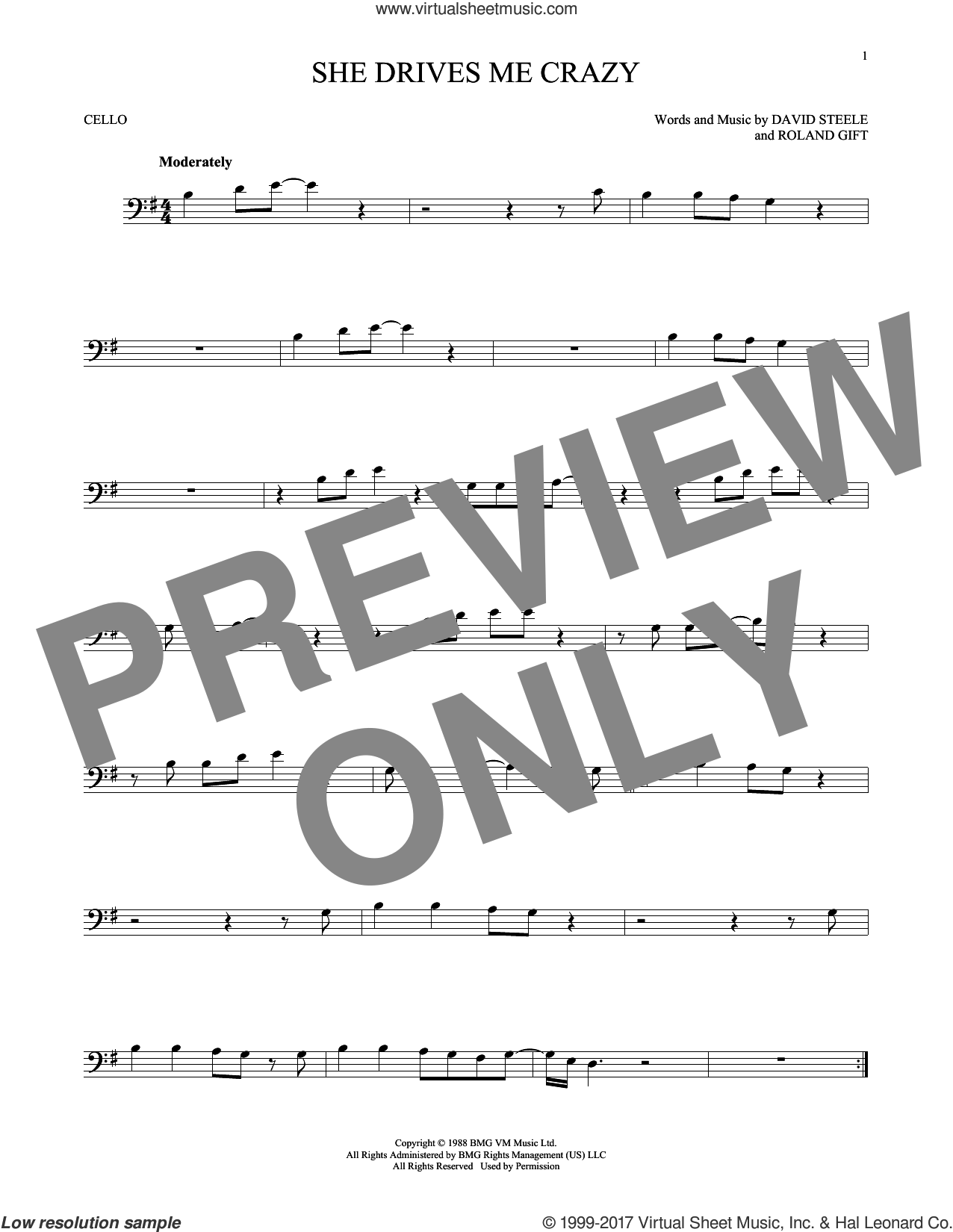 She Drives Me Crazy sheet music for cello solo by Fine Young Cannibals, David Steele and Roland Gift, intermediate skill level