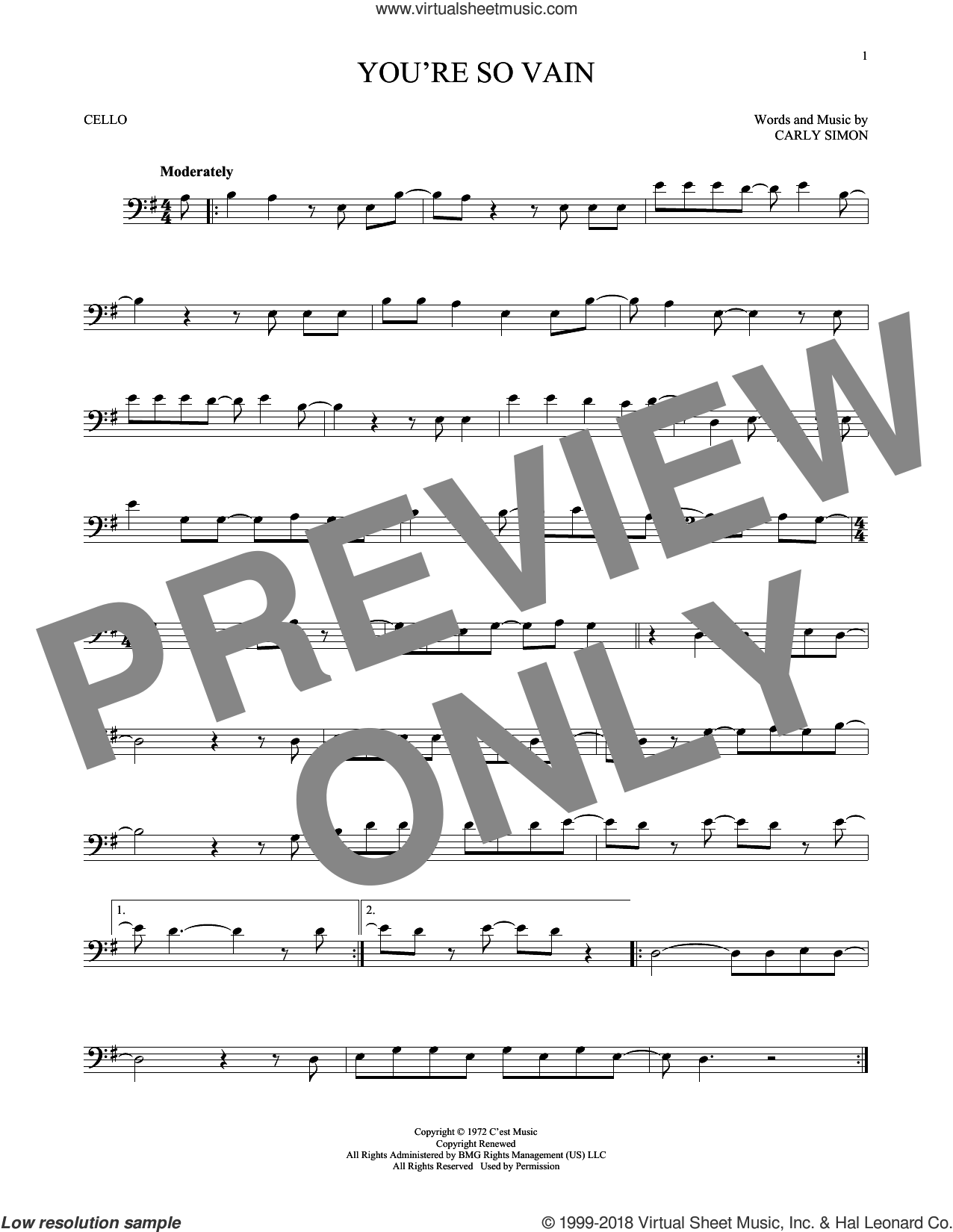 You're So Vain sheet music for cello solo by Carly Simon, intermediate