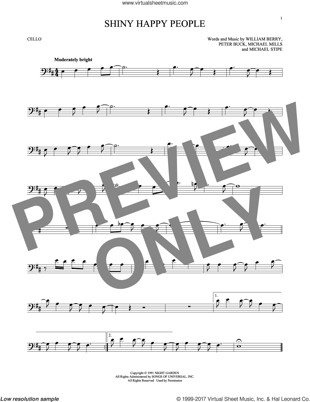 Shiny Happy People sheet music for cello solo by R.E.M.. Score Image Preview.
