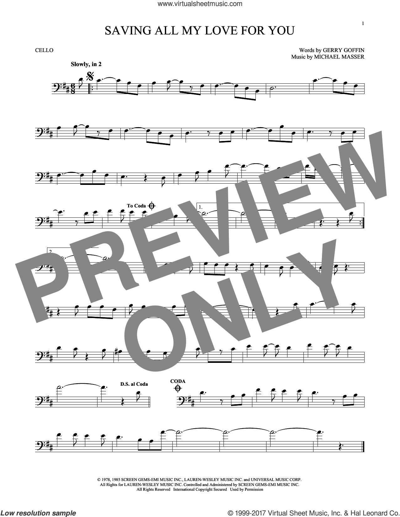 Saving All My Love For You sheet music for cello solo by Whitney Houston, Gerry Goffin and Michael Masser, intermediate. Score Image Preview.