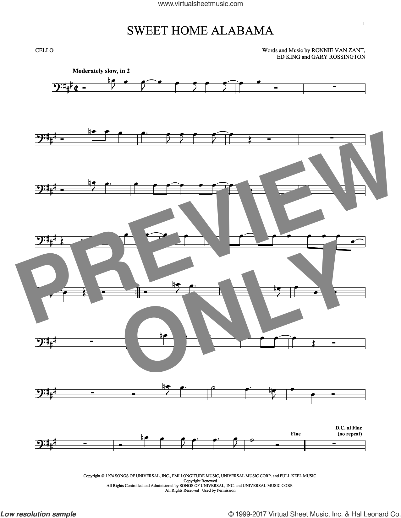 Sweet Home Alabama sheet music for cello solo by Lynyrd Skynyrd, Edward King, Gary Rossington and Ronnie Van Zant, intermediate skill level