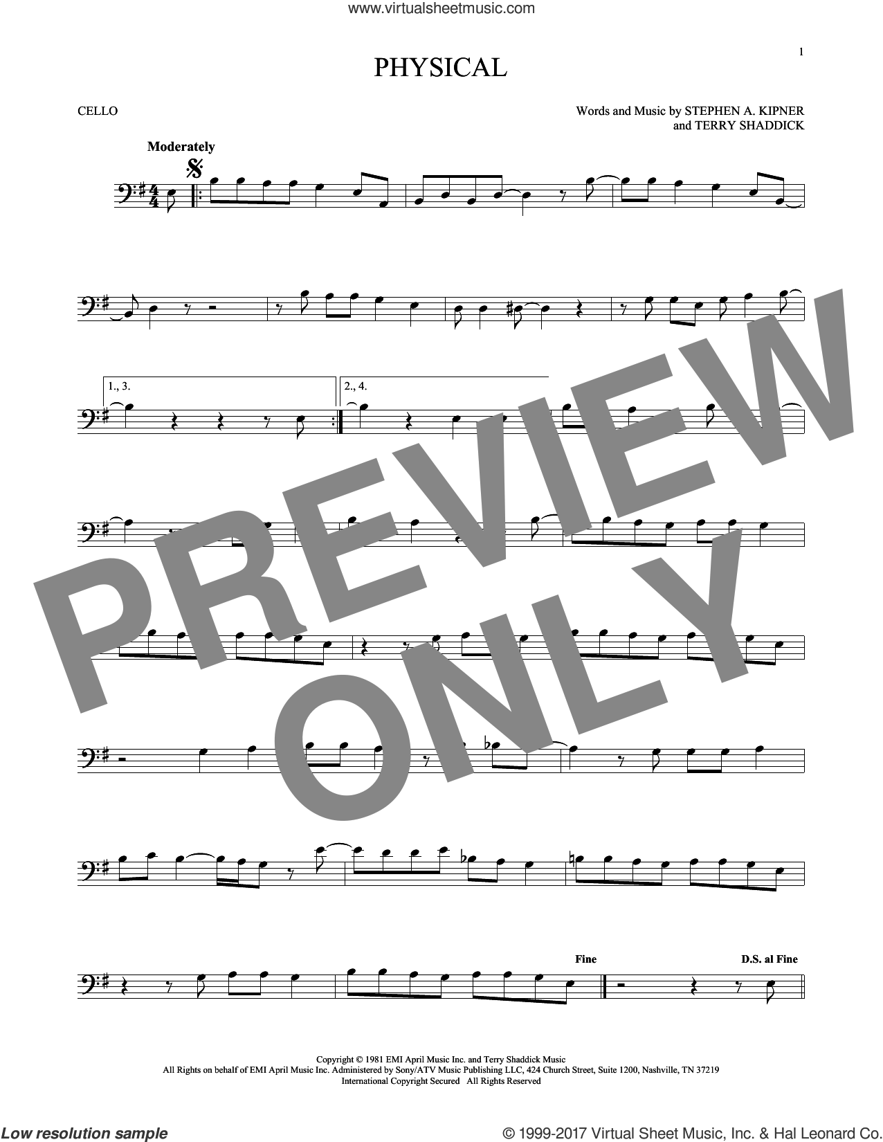 Physical sheet music for cello solo by Olivia Newton-John, Stephen A. Kipner and Terry Shaddick, intermediate skill level