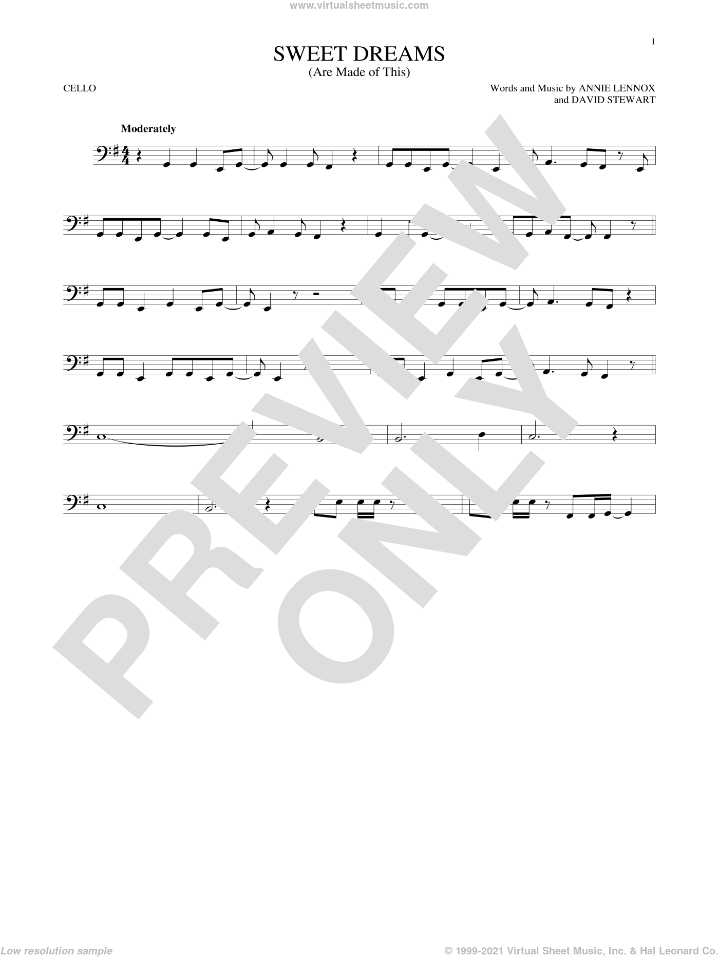 Sweet Dreams (Are Made Of This) sheet music for cello solo by Eurythmics, Annie Lennox and Dave Stewart, intermediate. Score Image Preview.