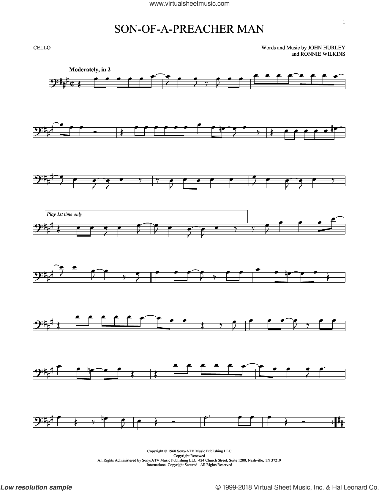 Son-Of-A-Preacher Man sheet music for cello solo by Dusty Springfield, John Hurley and Ronnie Wilkins, intermediate skill level
