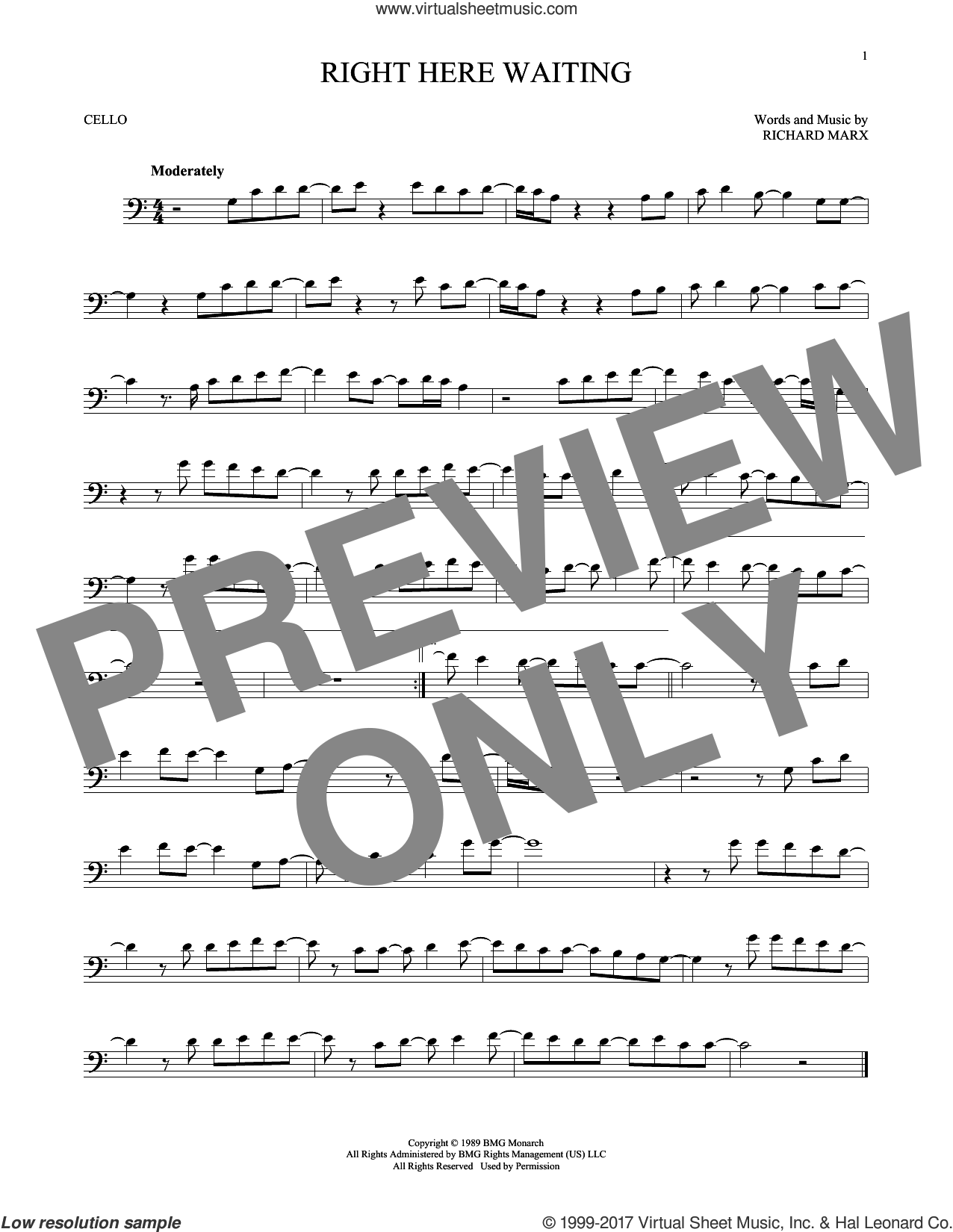 Right Here Waiting sheet music for cello solo by Richard Marx, intermediate skill level