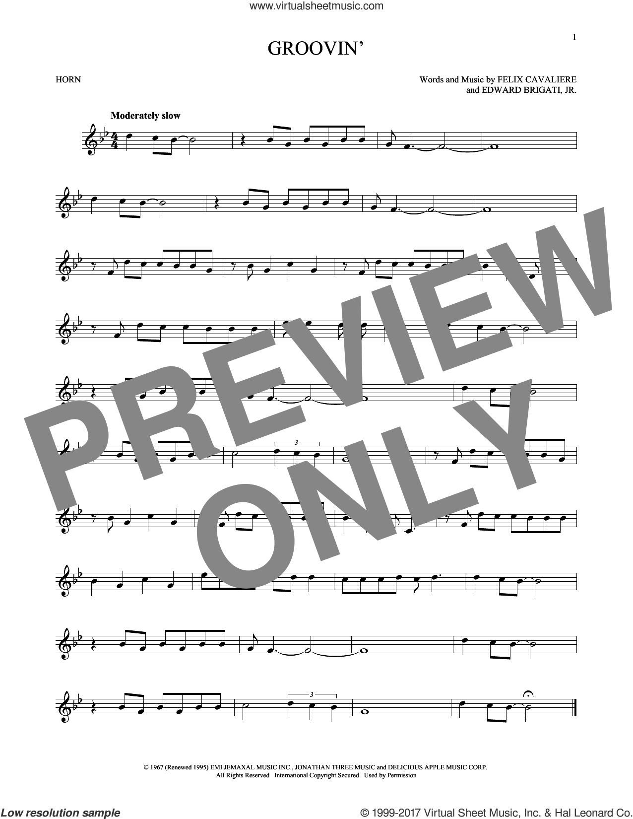 Groovin' sheet music for horn solo by Young Rascals, Edward Brigati Jr. and Felix Cavaliere, intermediate. Score Image Preview.