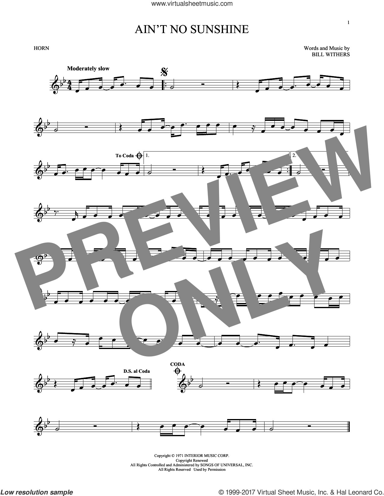 Ain't No Sunshine sheet music for horn solo by Bill Withers, intermediate skill level