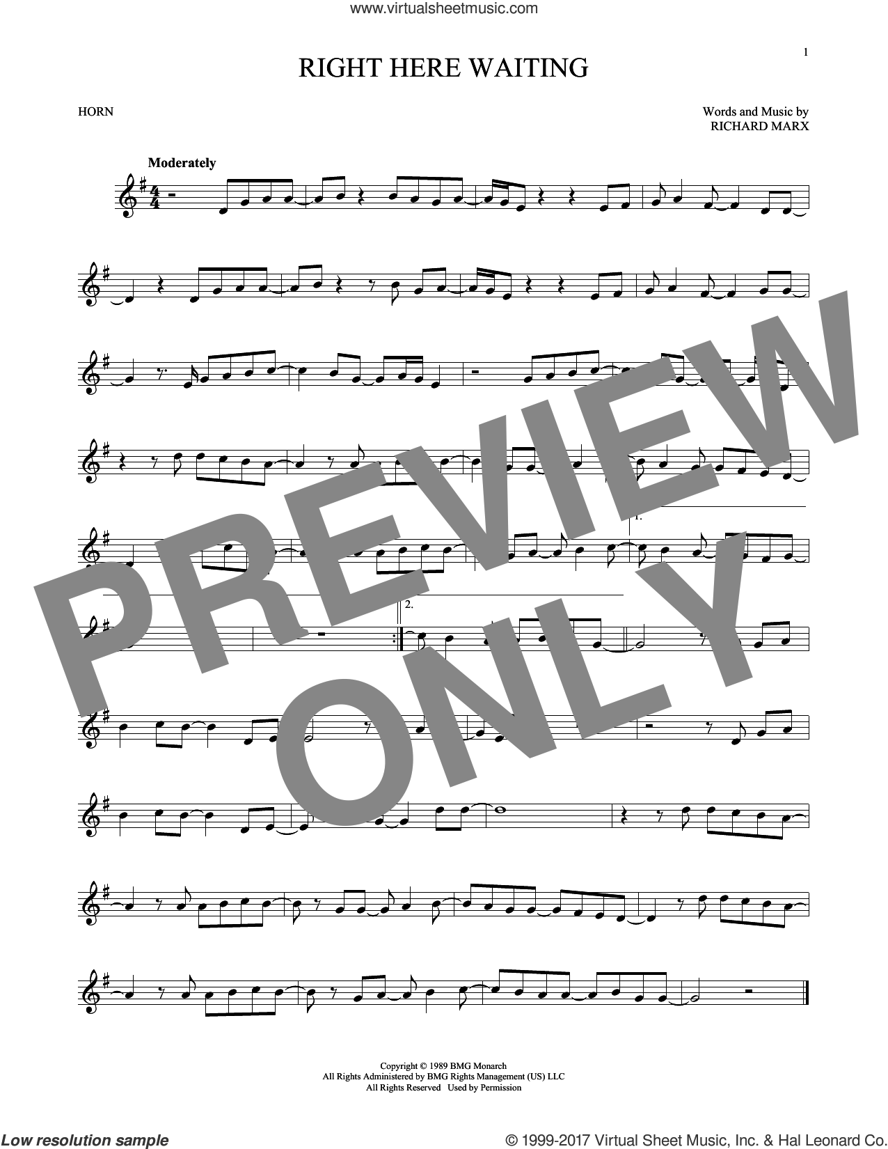 Right Here Waiting sheet music for horn solo by Richard Marx, intermediate. Score Image Preview.