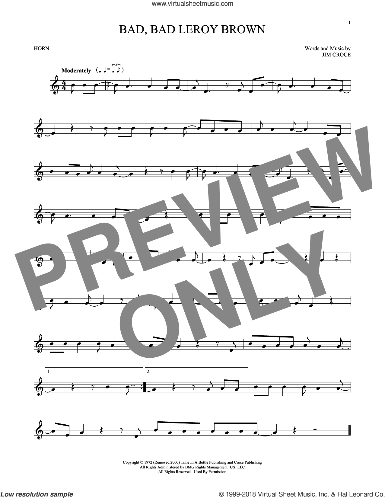 Bad, Bad Leroy Brown sheet music for horn solo by Jim Croce, intermediate skill level