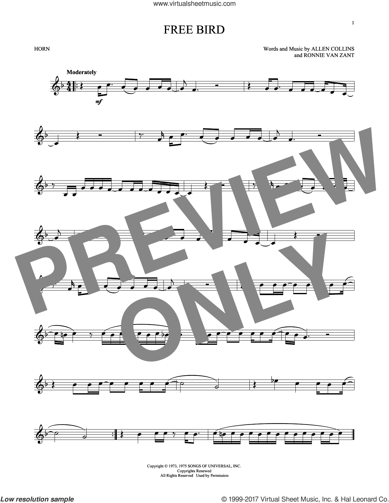 Free Bird sheet music for horn solo by Lynyrd Skynyrd and Ronnie Van Zant, intermediate. Score Image Preview.