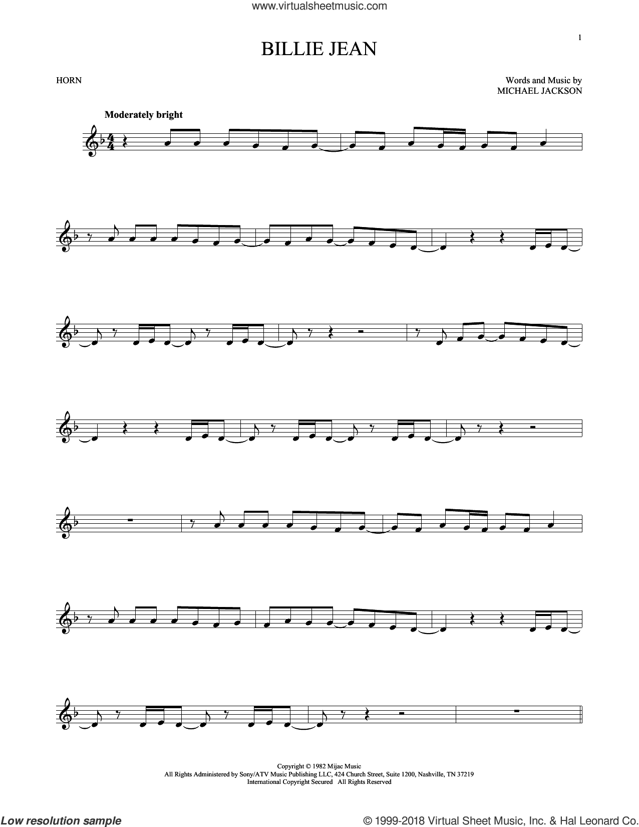 Billie Jean sheet music for horn solo by Michael Jackson, intermediate