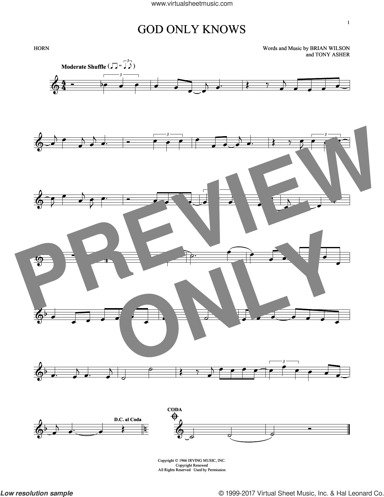 God Only Knows sheet music for horn solo by The Beach Boys and Brian Wilson, intermediate skill level