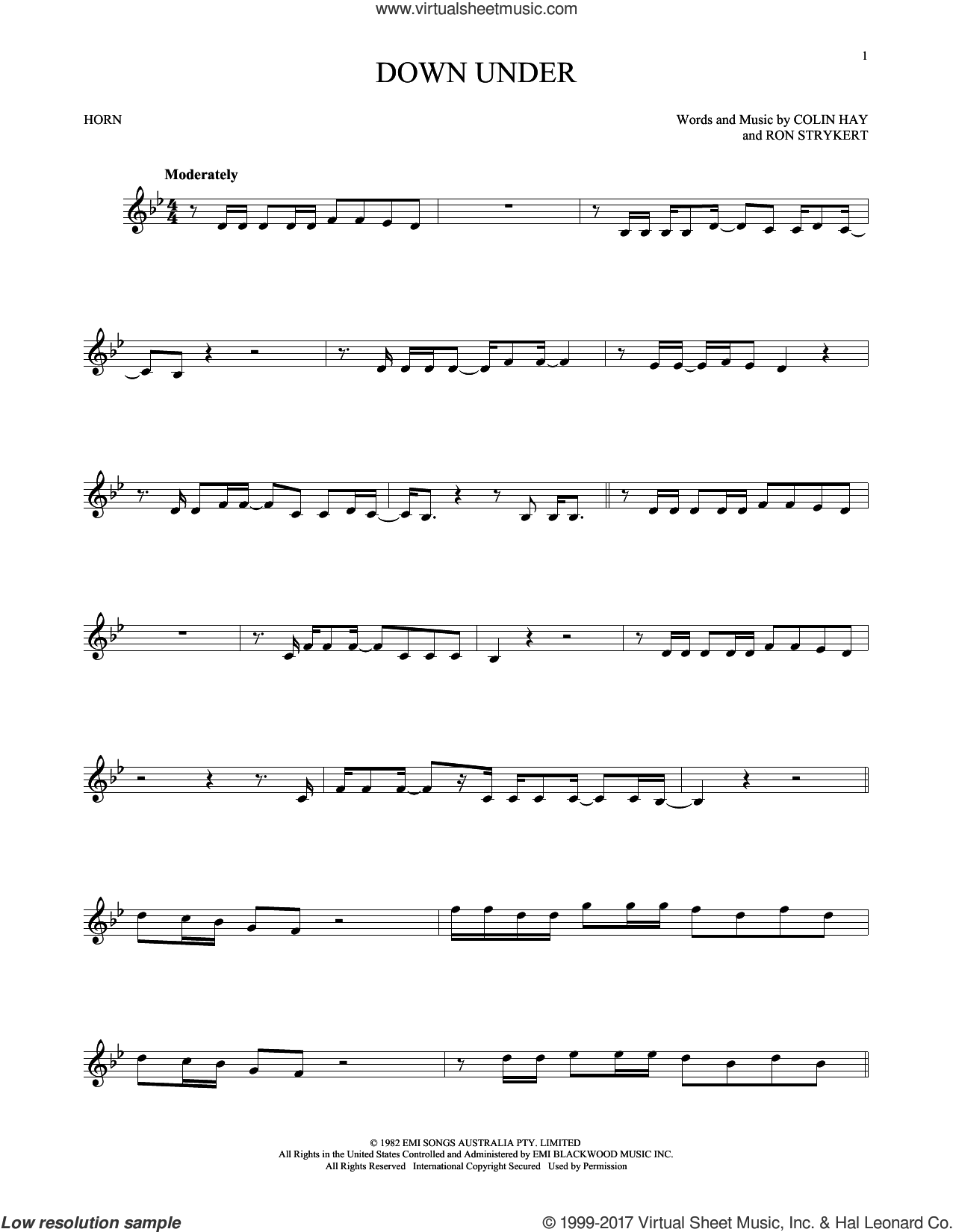 Down Under sheet music for horn solo by Men At Work. Score Image Preview.