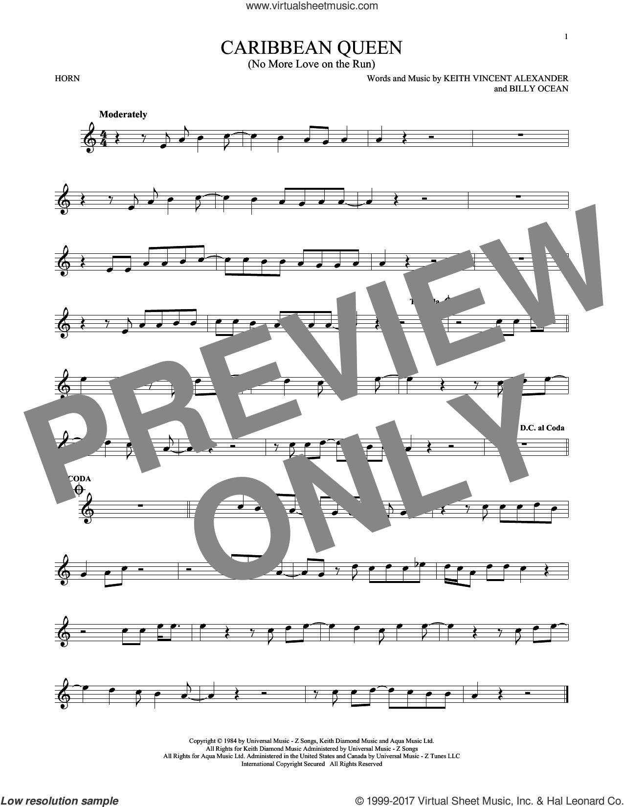 Caribbean Queen (No More Love On The Run) sheet music for horn solo by Billy Ocean, intermediate skill level