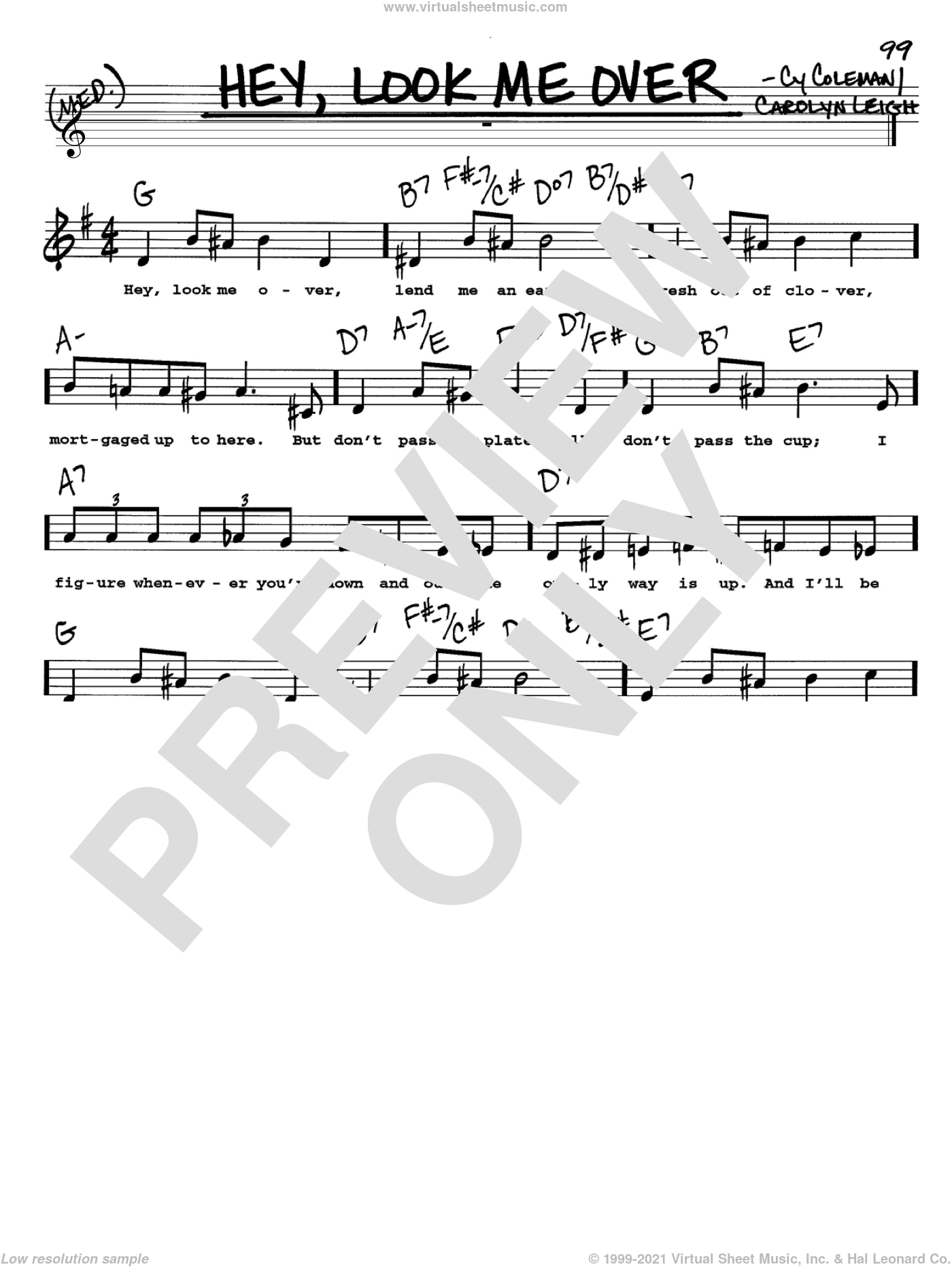 Hey, Look Me Over sheet music for voice and other instruments  by Cy Coleman, Lucille Ball, Wildcat (Musical) and Carolyn Leigh, intermediate. Score Image Preview.