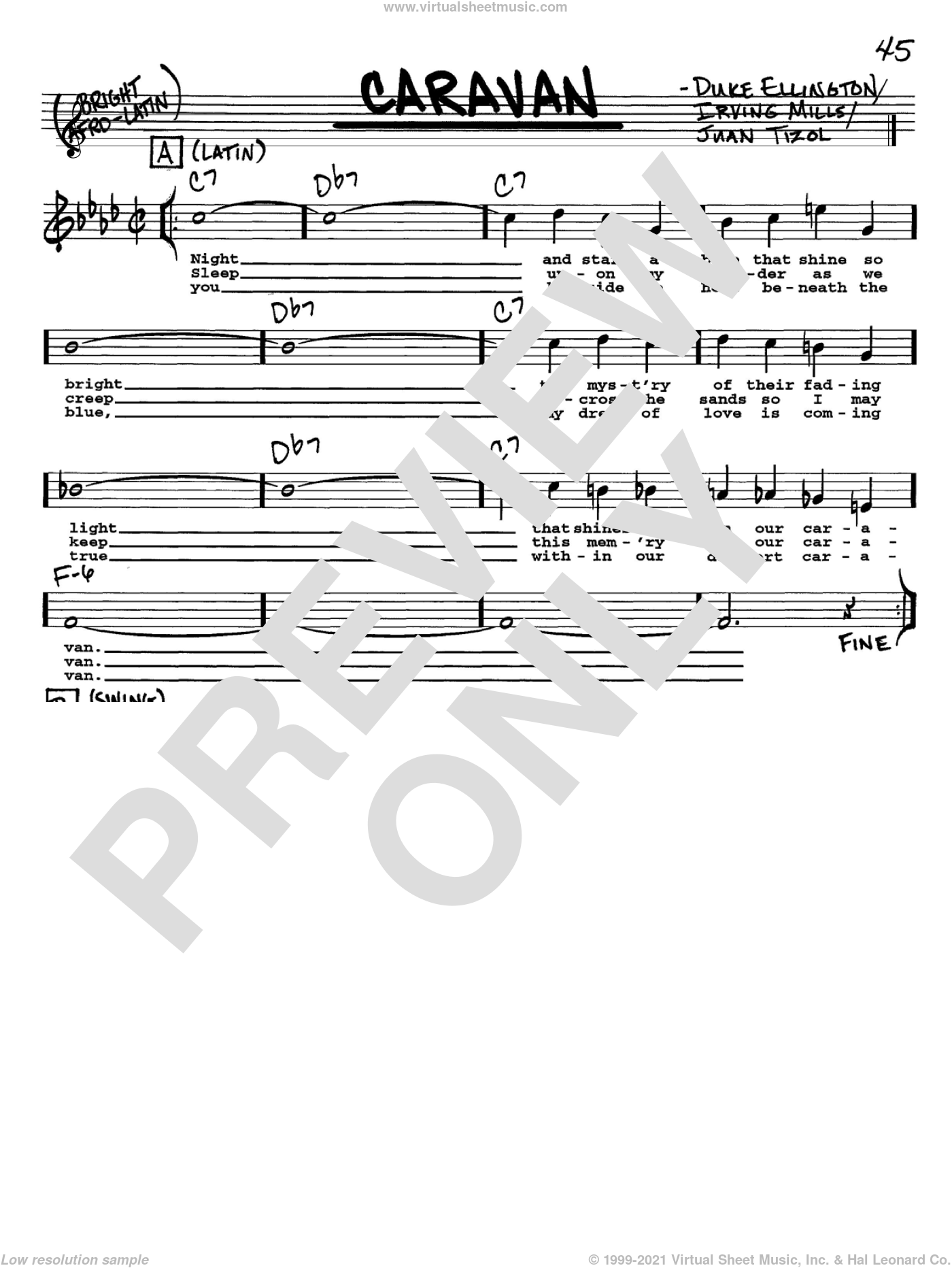 Caravan sheet music for voice and other instruments (Vocal Volume 2) by Juan Tizol, Ralph Marterie, Duke Ellington and Irving Mills. Score Image Preview.