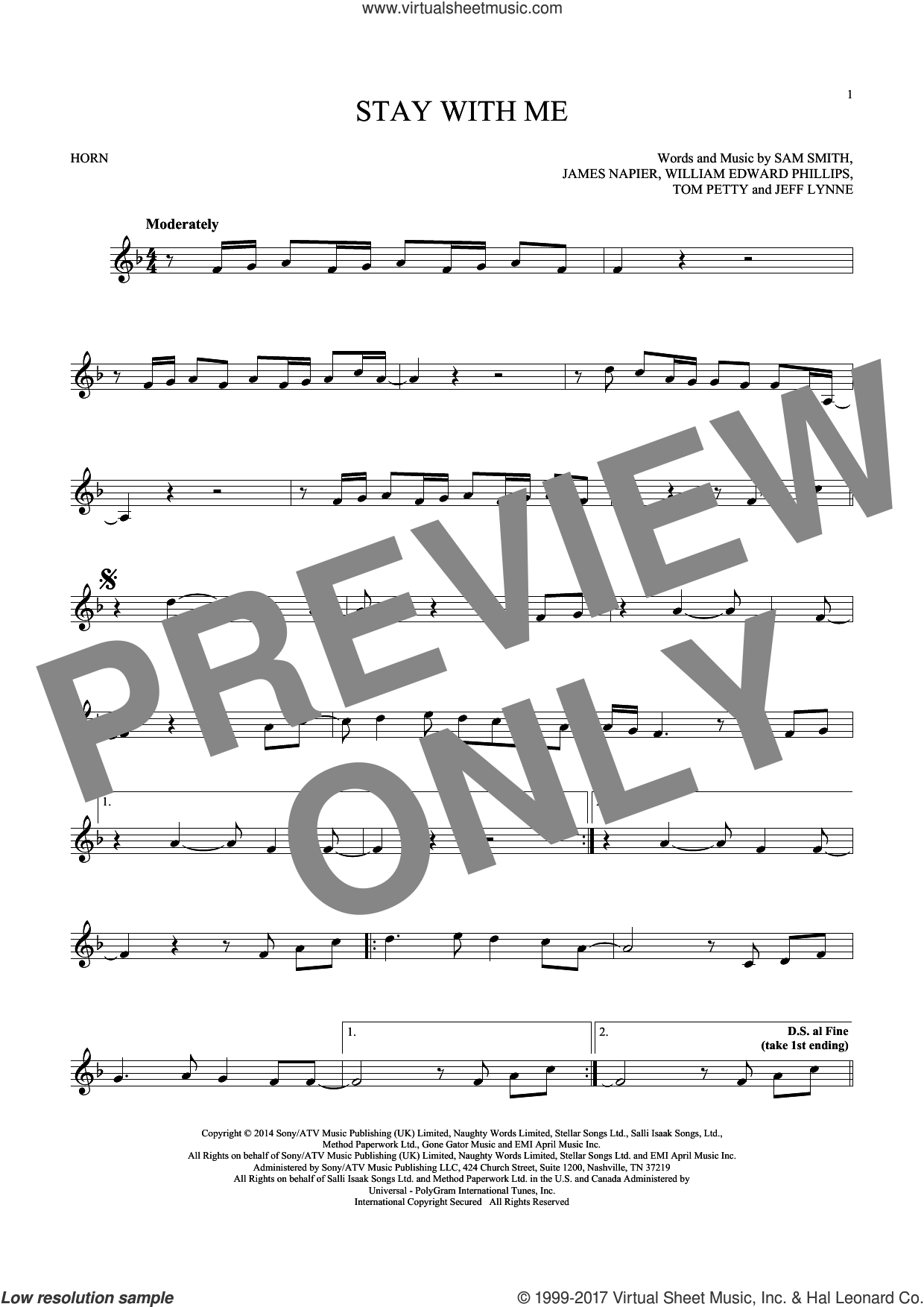 Stay With Me sheet music for horn solo by Sam Smith, Jeff Lynne and Tom Petty. Score Image Preview.
