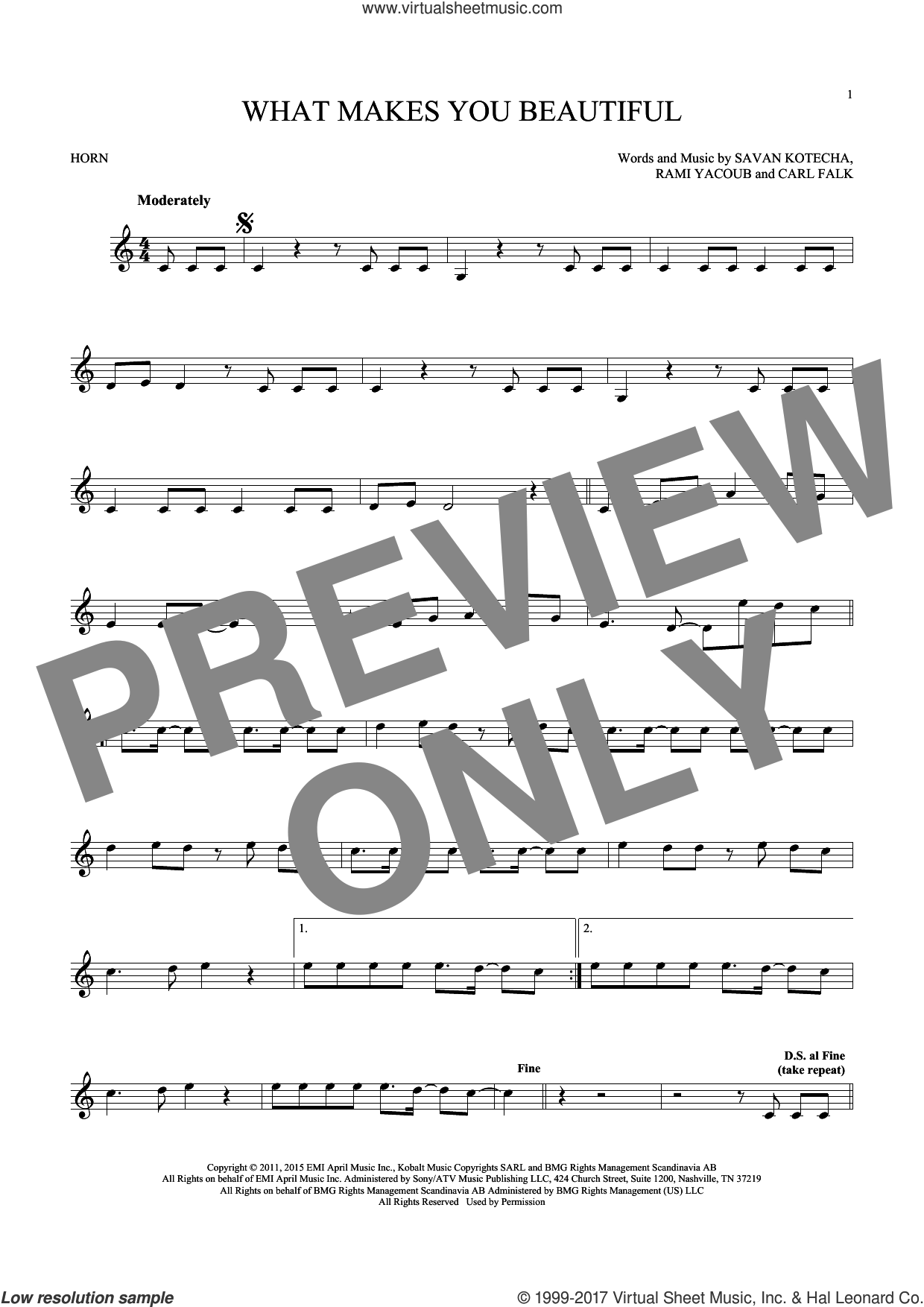 What Makes You Beautiful sheet music for horn solo by One Direction, Carl Falk and Savan Kotecha, intermediate skill level