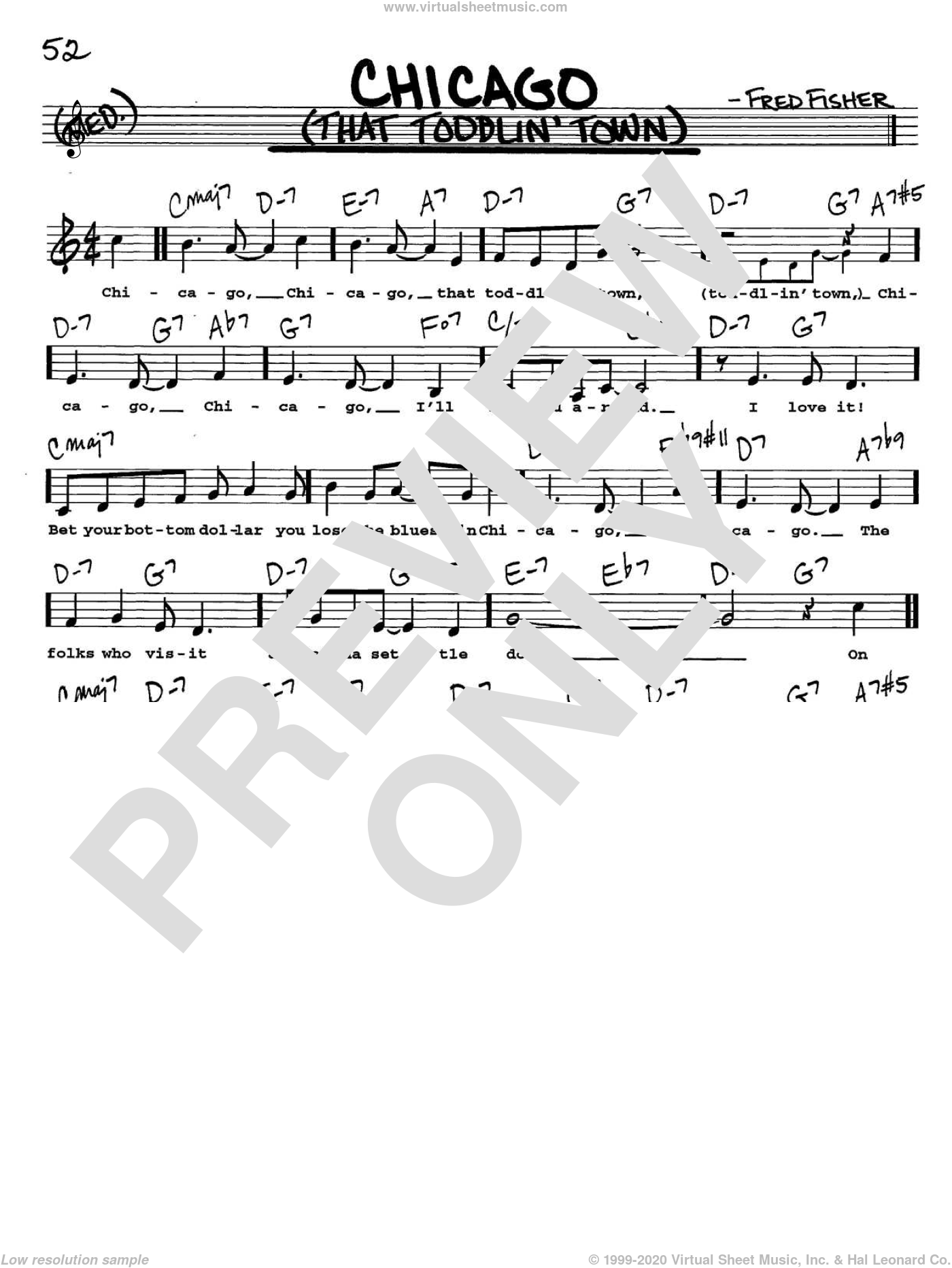 Chicago (That Toddlin' Town) sheet music for voice and other instruments (Vocal Volume 2) by Fred Fisher and Frank Sinatra. Score Image Preview.